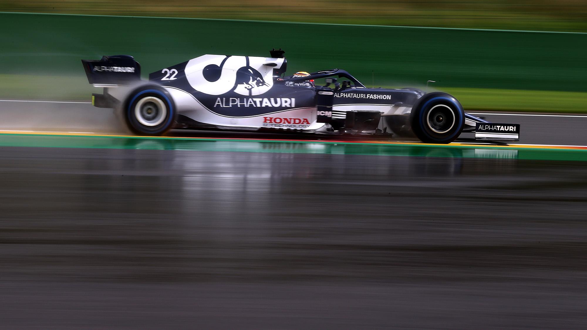 Yuki Tsunoda qualifying for the 2021 Belgian Grand Prix