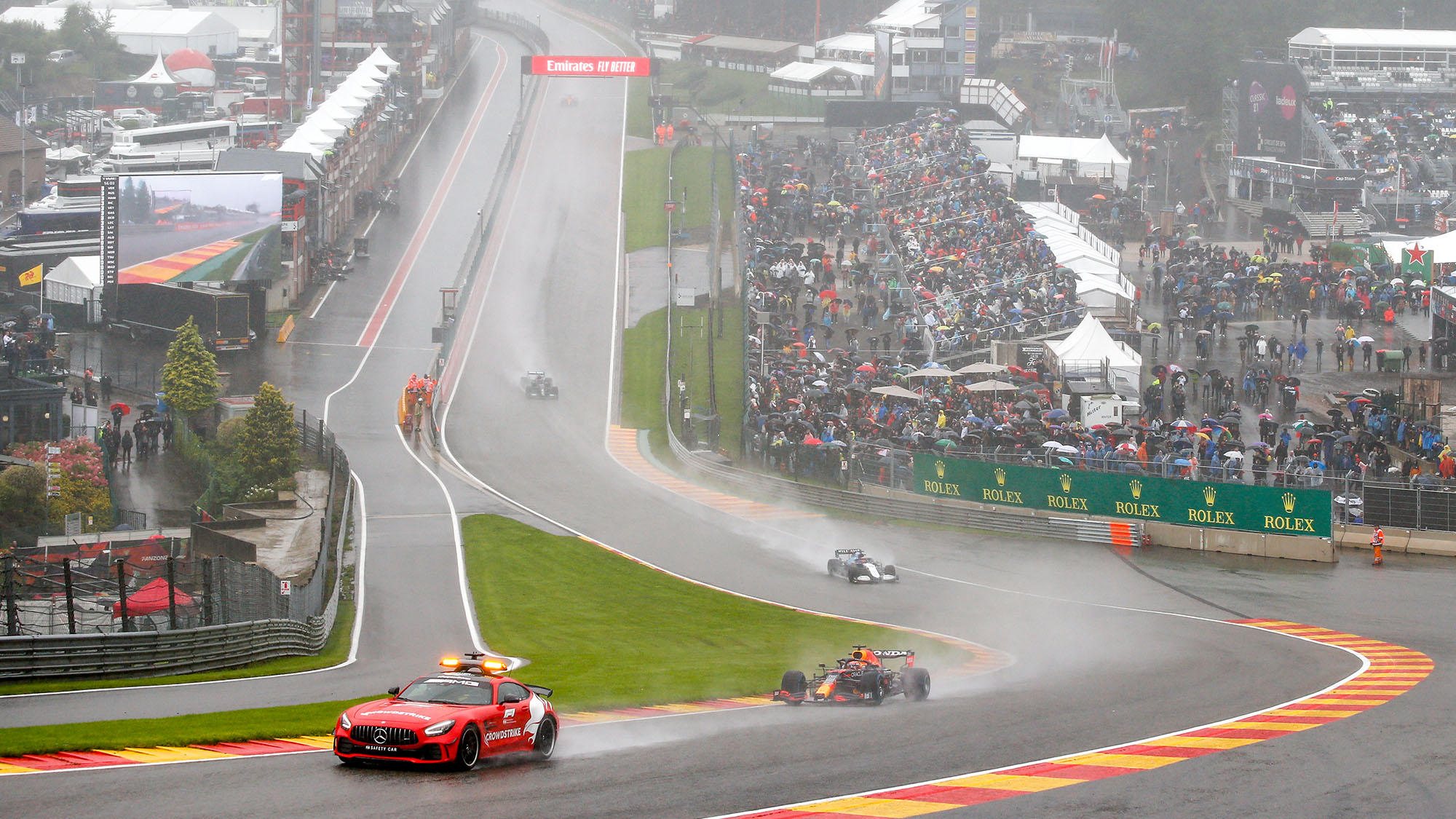 Safety car goes through Eau Rouge at the 2021 Belgian Grand Prix