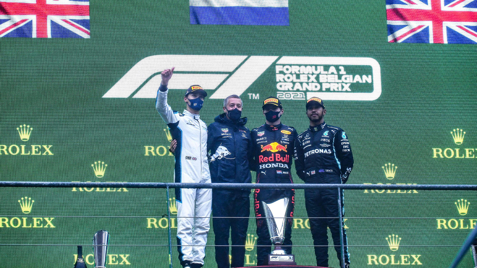 Russell Verstappen and Hamilton on the podium after 2021 Belgian Grand Prix