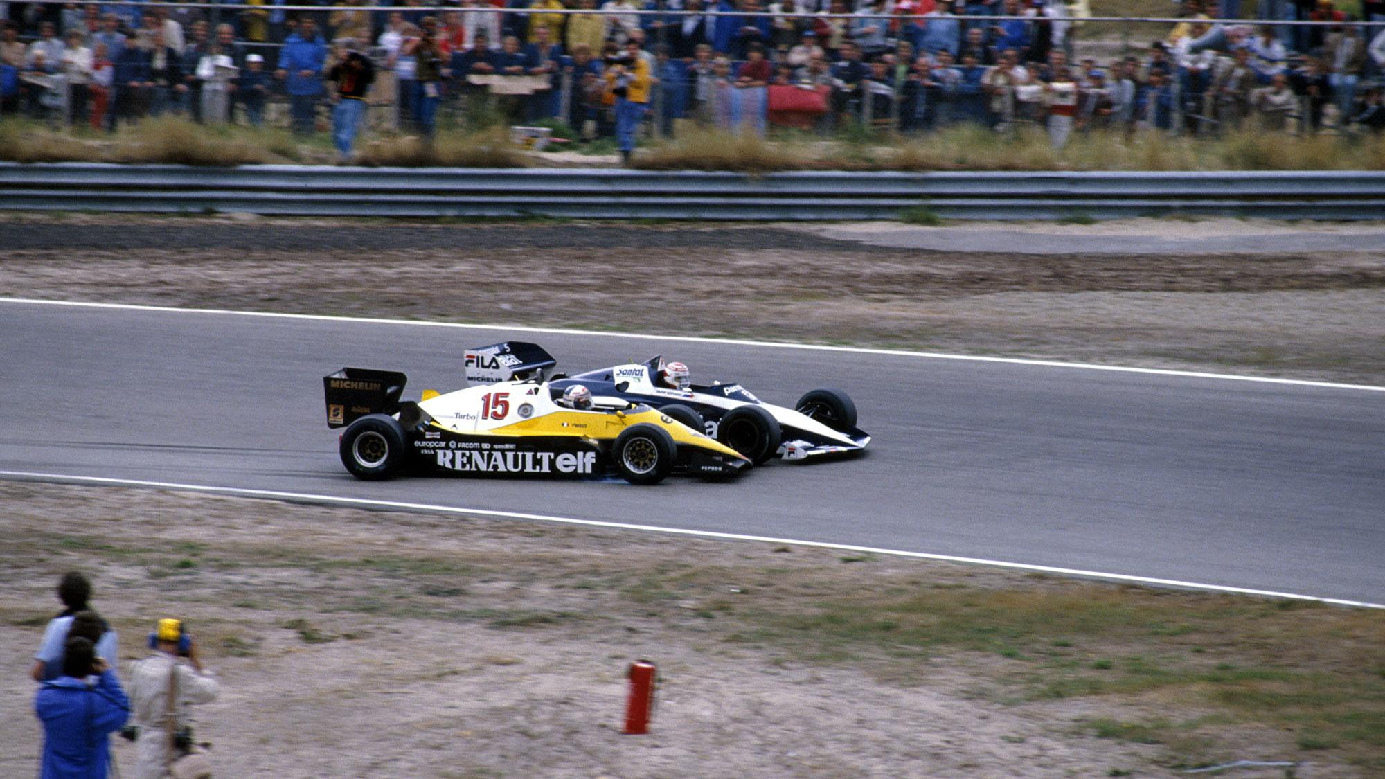 Alain Prost hits Nelson Piquet in the 1983 Dutch Grand Prix