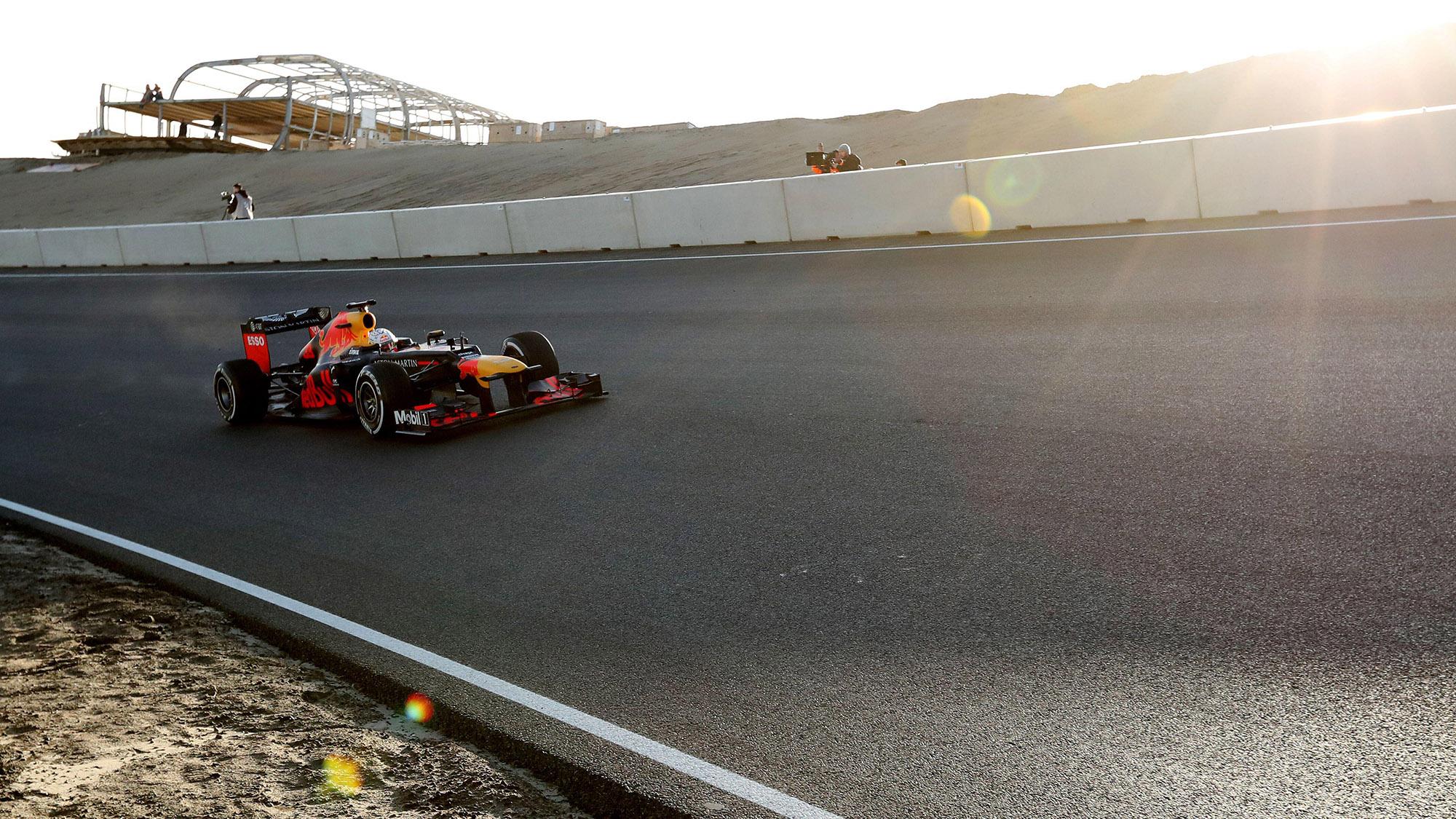 Max Verstappen on banked corner at Zandvoort