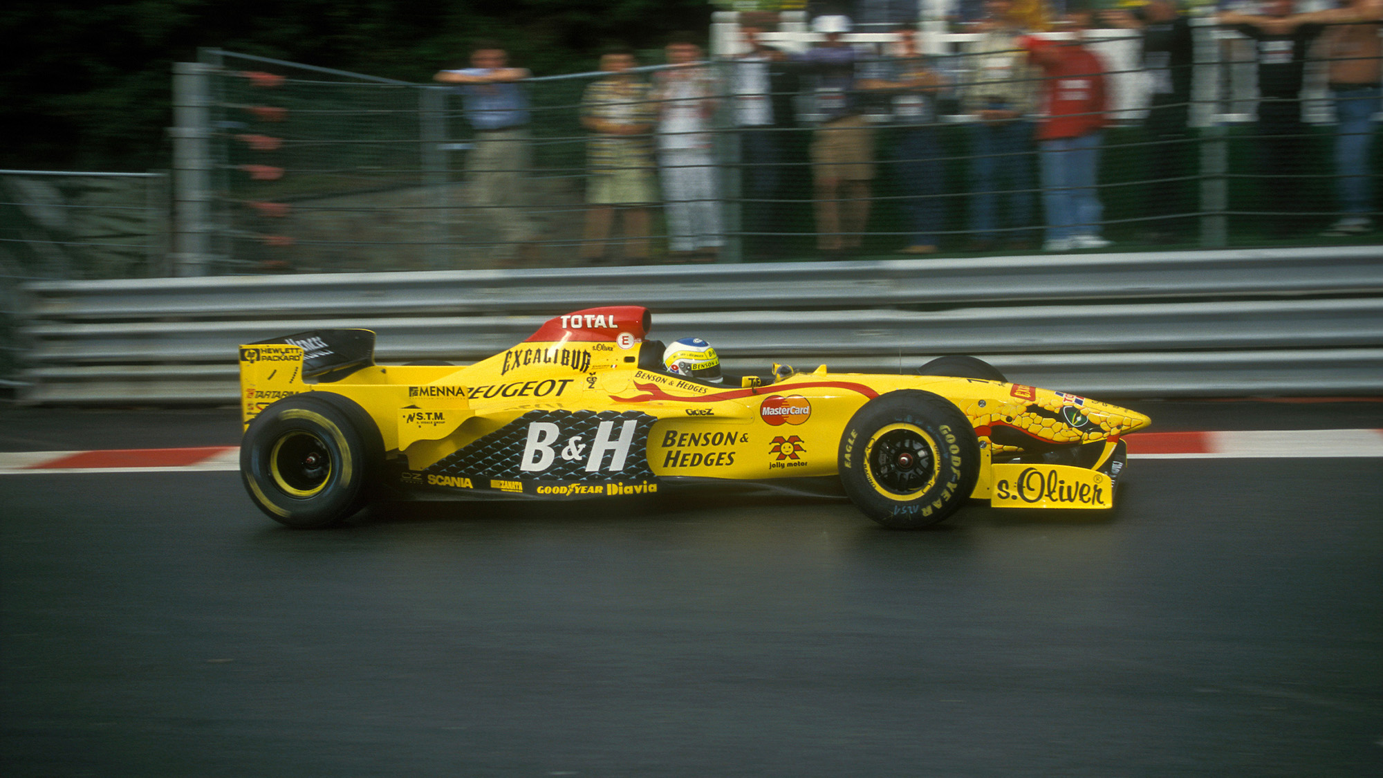 Giancarlo Fisichella on his way to pole position at the 1997 Belgian Grand Prix