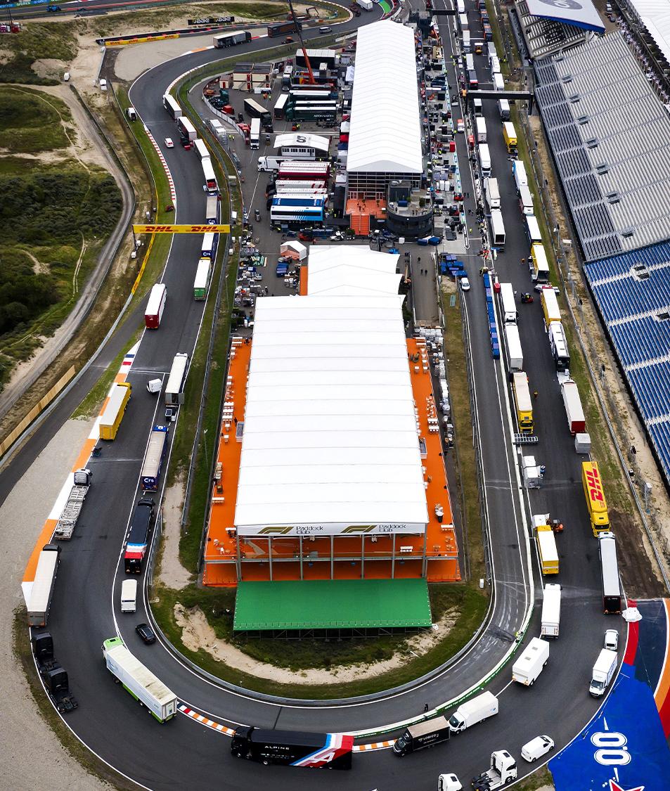 Overhead view of F1 trucks unloading at Zandvoort