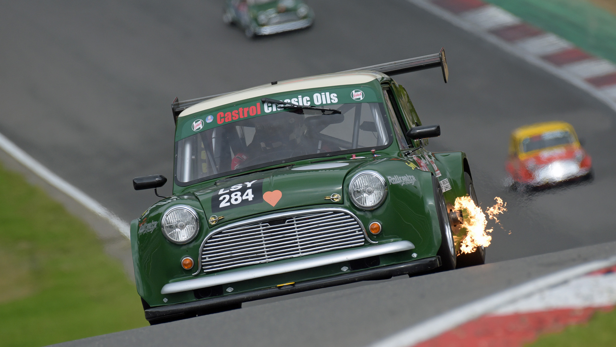 Racing Mini spitting flames