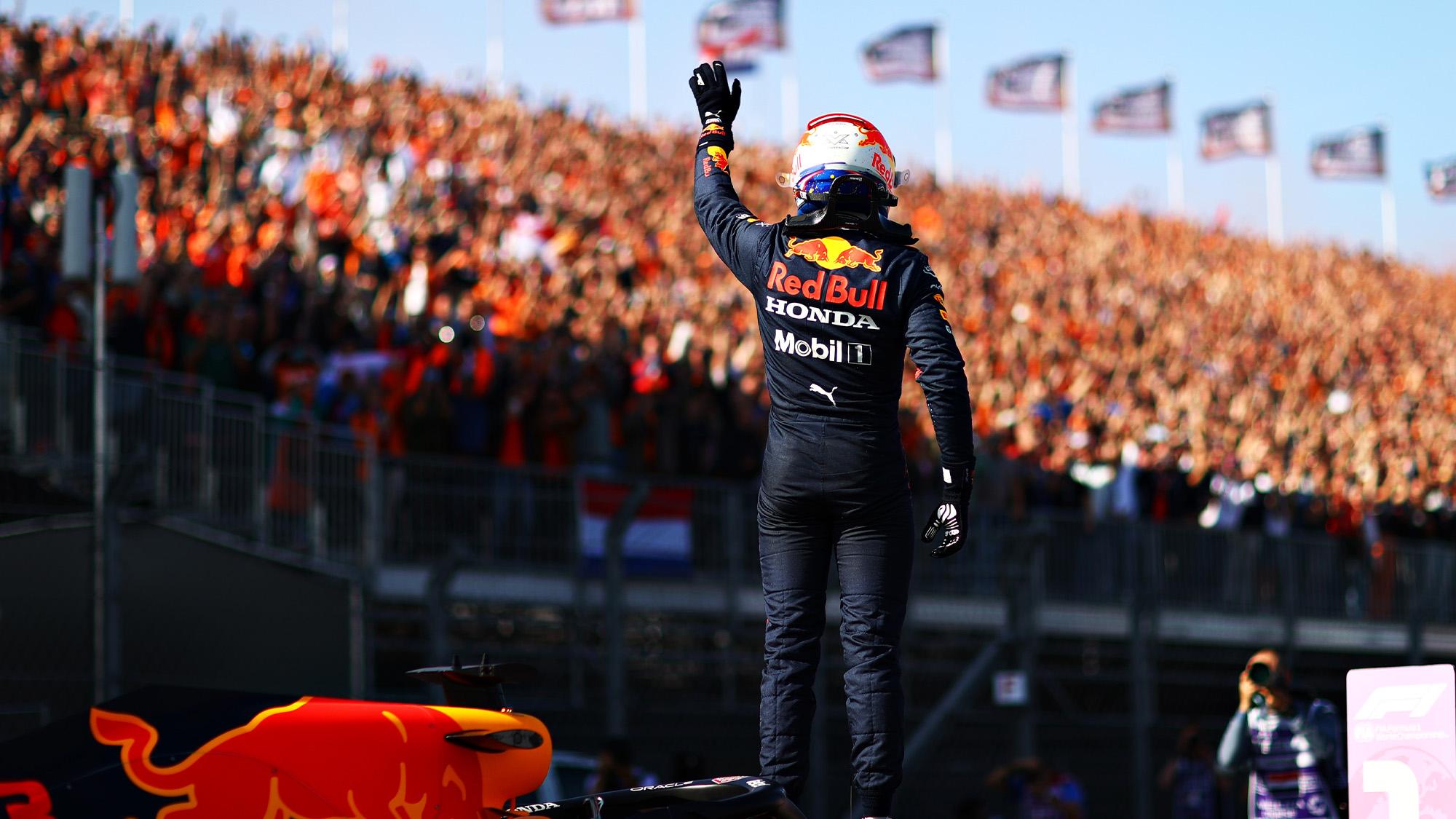 Max Verstappen celebrates pole at 2021 Dutch GP with orange army