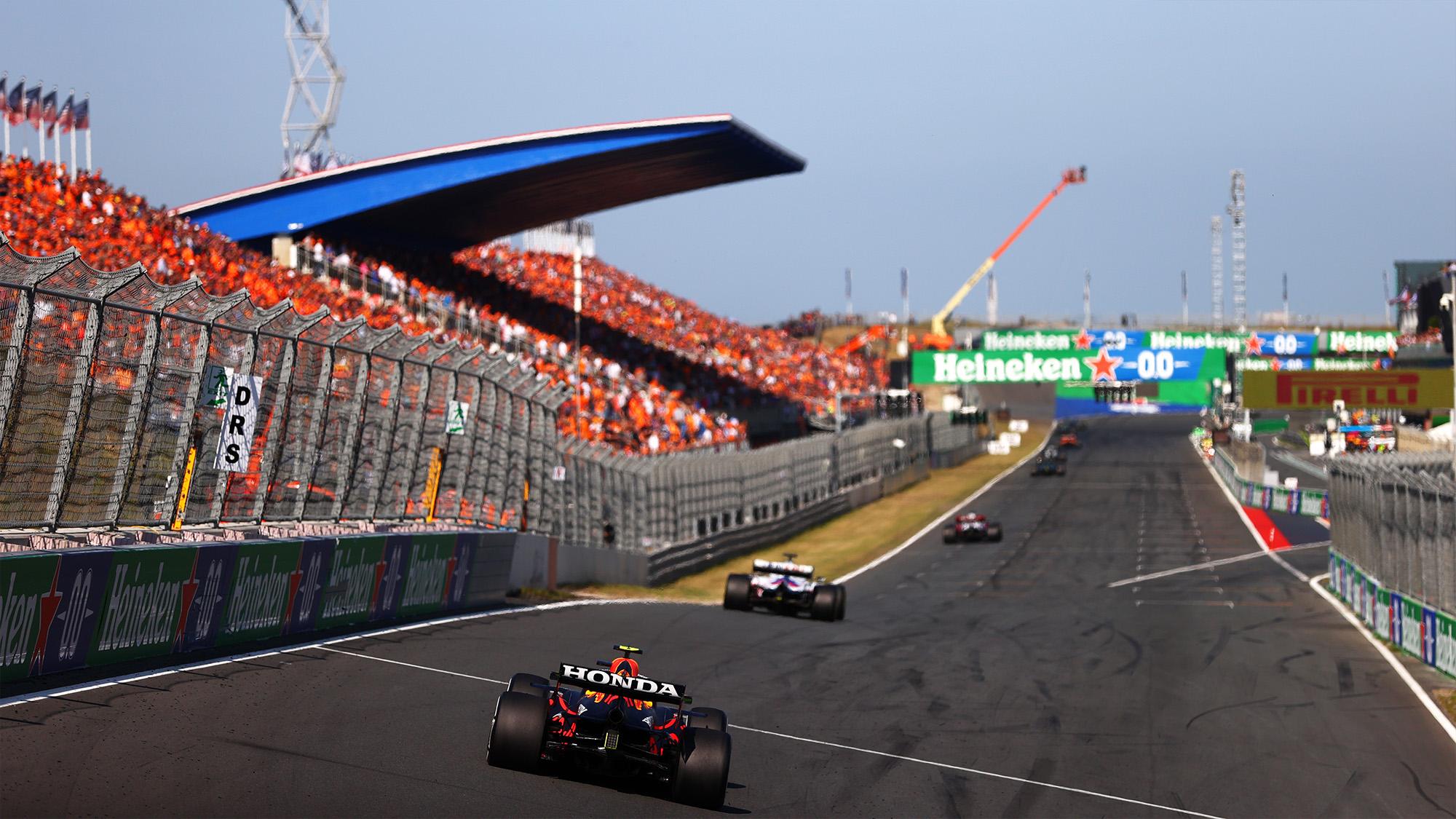 A line of cars ahead of Sergio Perez in the 2021 Dutch Grand Prix