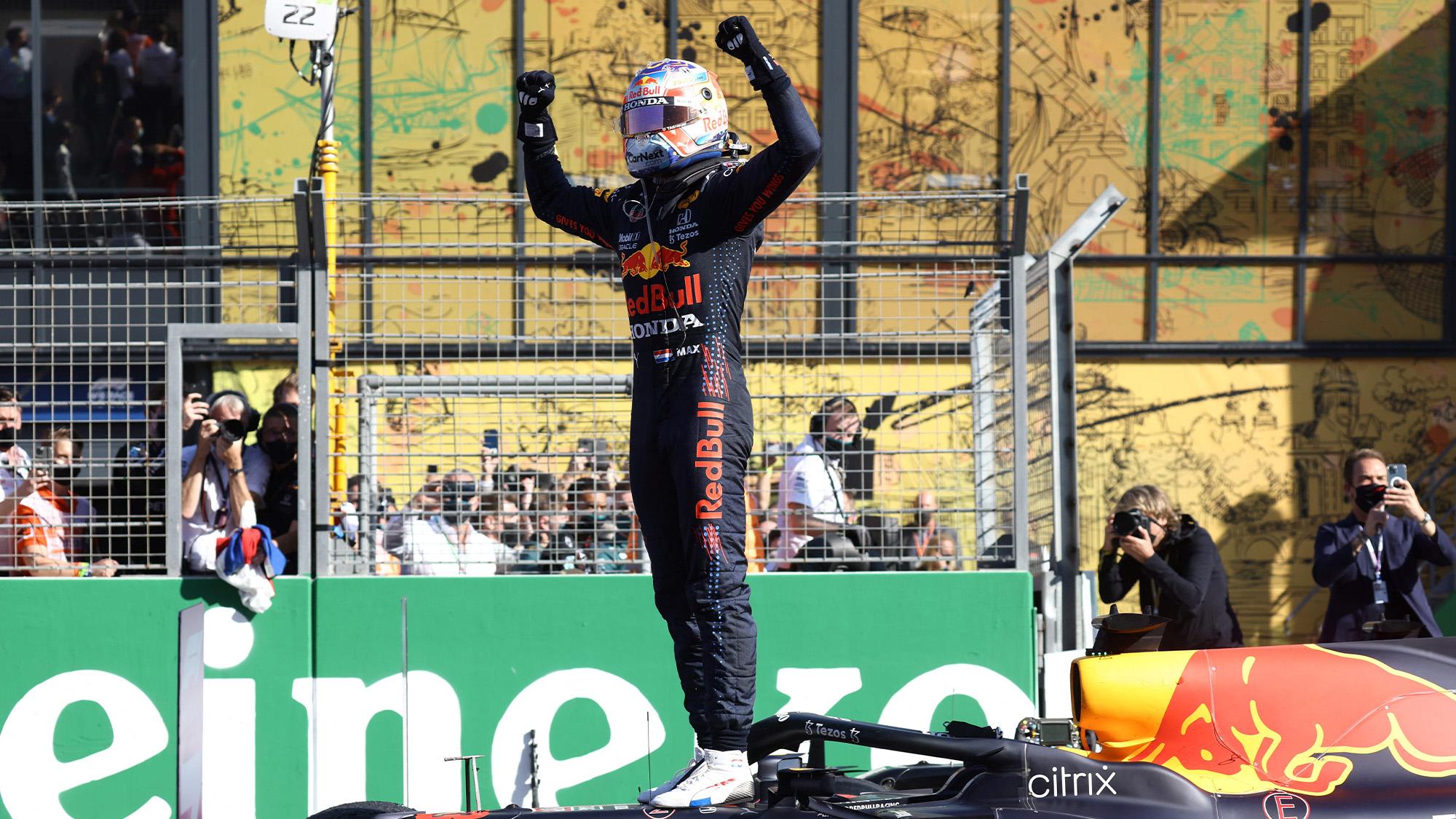 Max Verstappen celebrates winning 2021 Dutch GP