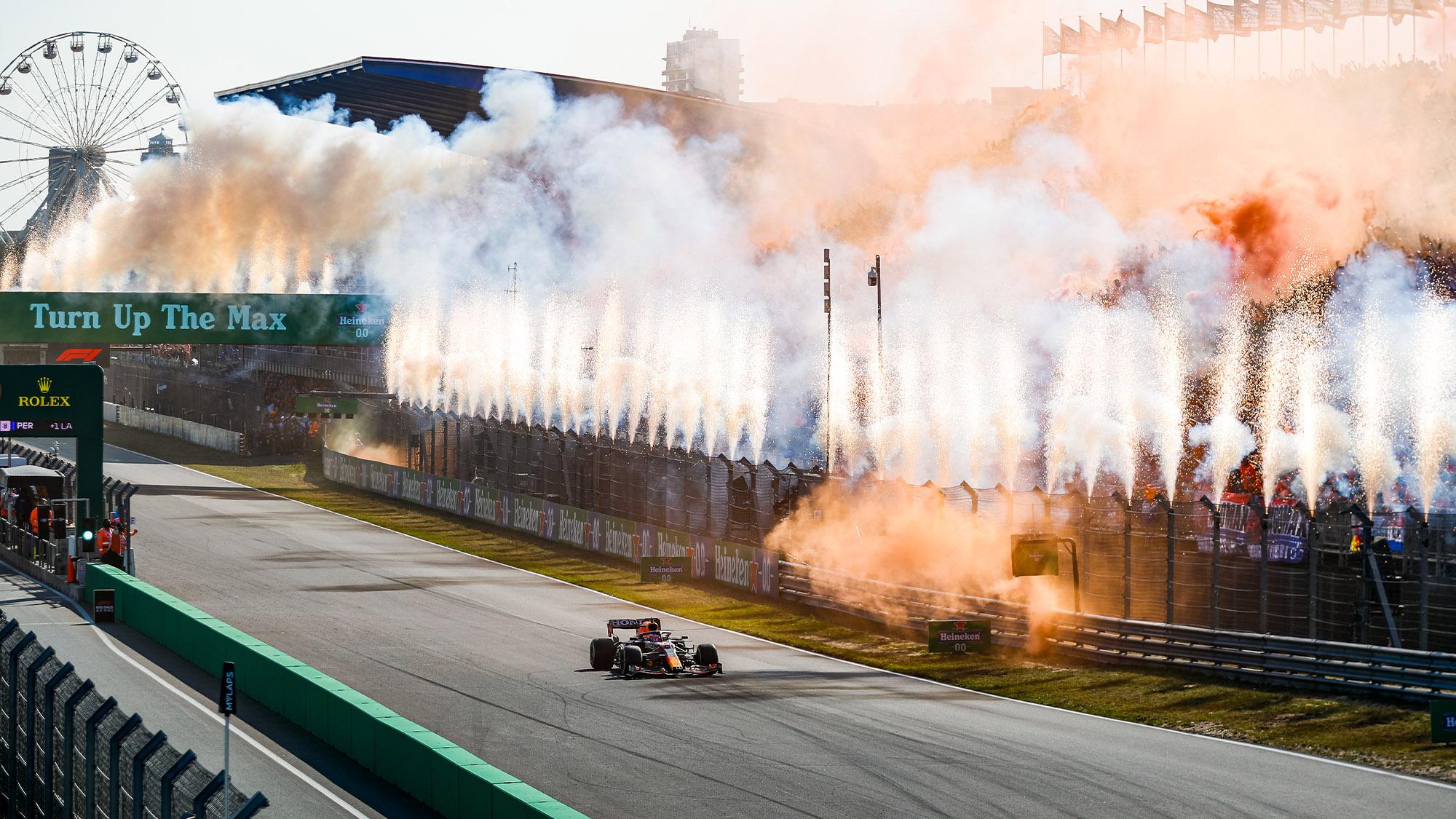 FIreworks as Max Verstappen win the 2021 Dutch GP