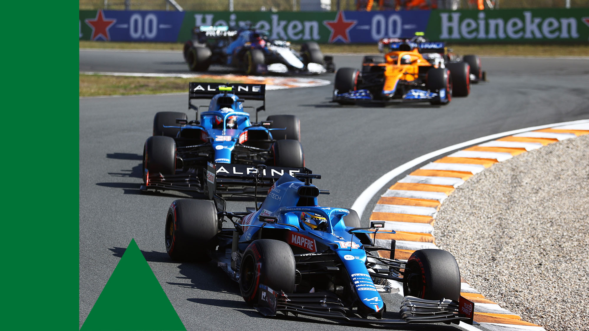 ZANDVOORT, NETHERLANDS - SEPTEMBER 05: Fernando Alonso of Spain driving the (14) Alpine A521 Renault leads Esteban Ocon of France driving the (31) Alpine A521 Renault during the F1 Grand Prix of The Netherlands at Circuit Zandvoort on September 05, 2021 in Zandvoort, Netherlands. (Photo by Bryn Lennon/Getty Images)