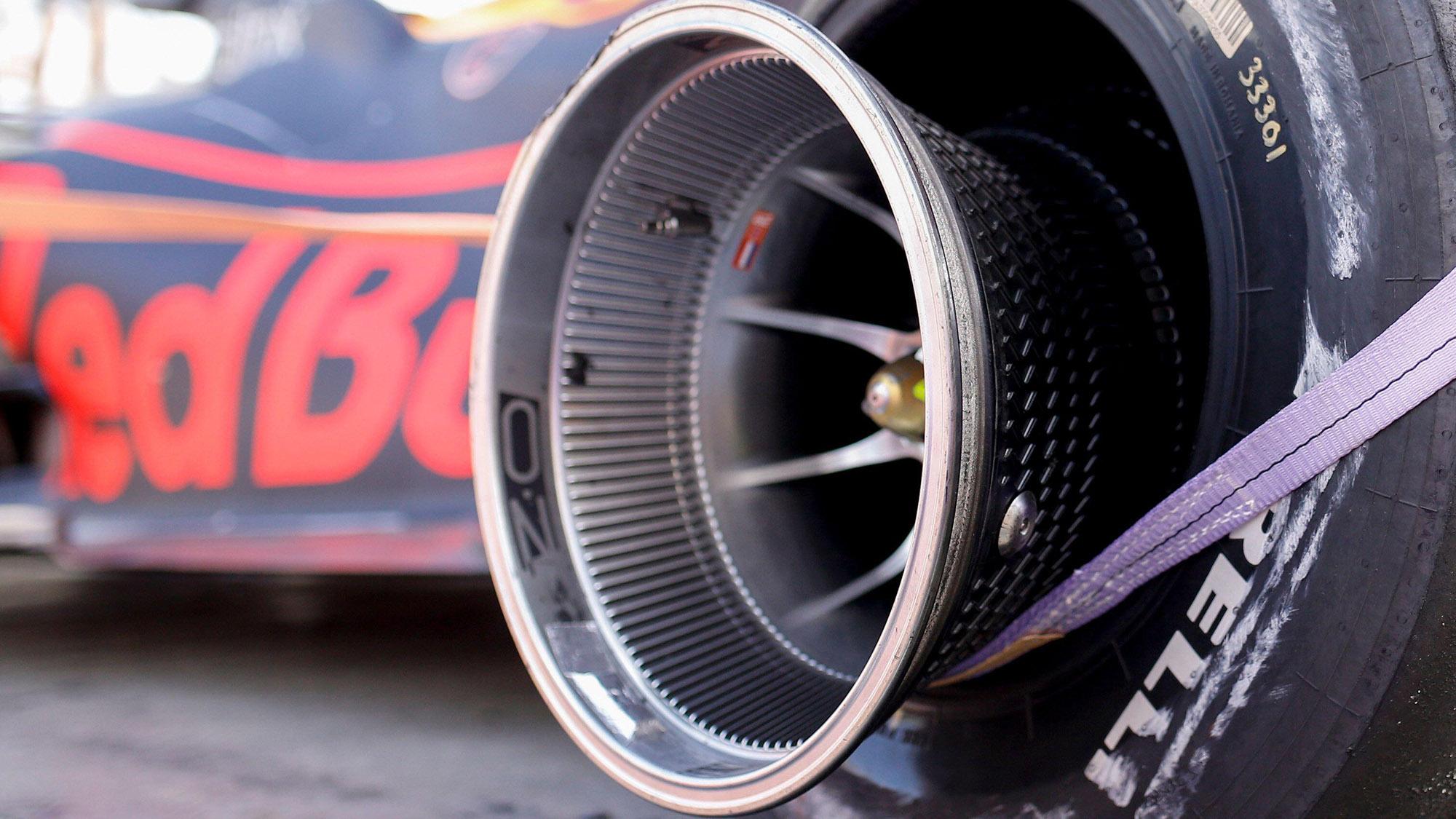 Finned wheel rim of Max Verstappen's Red Bull