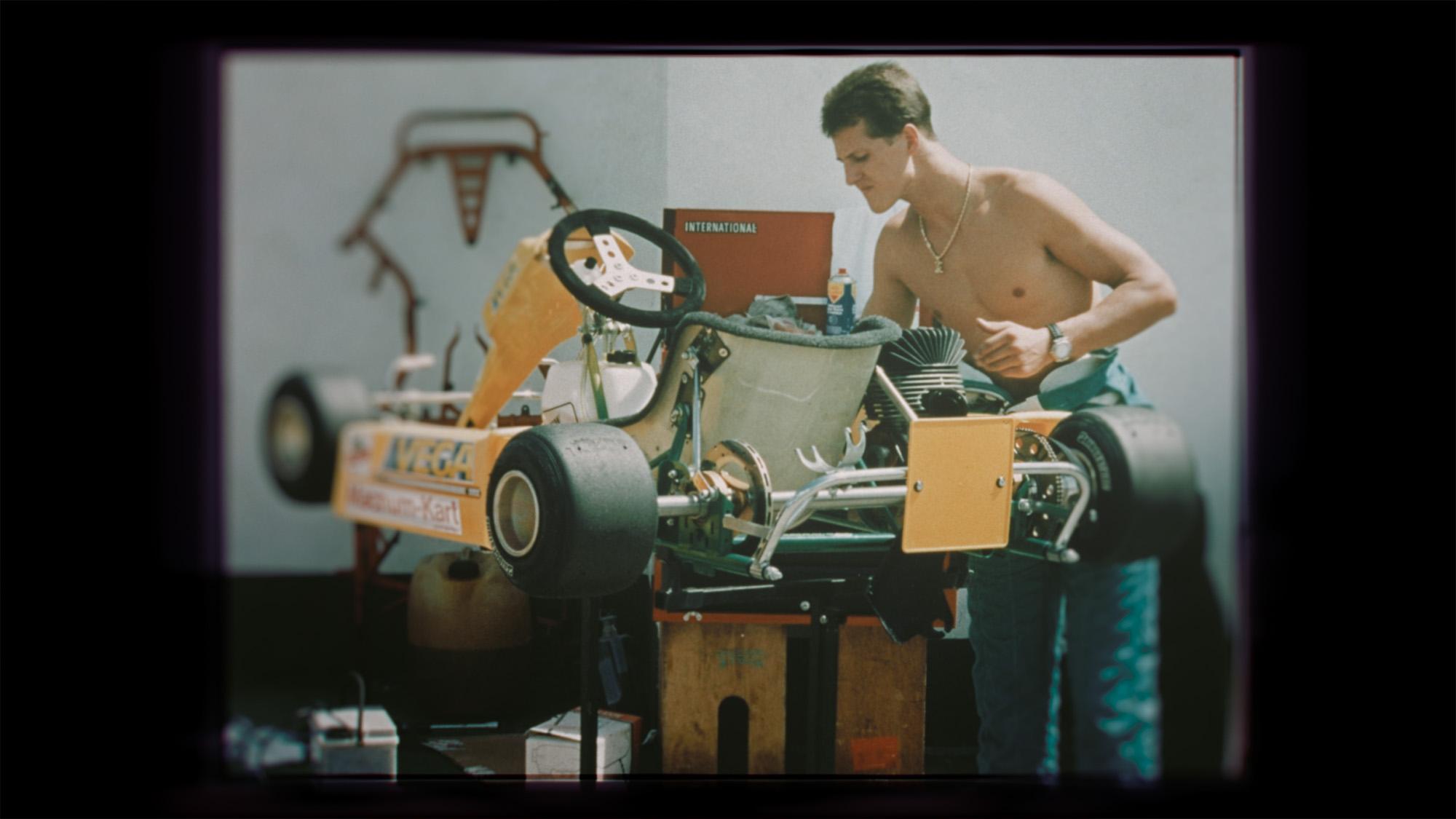 Michael Schumacher with go kart