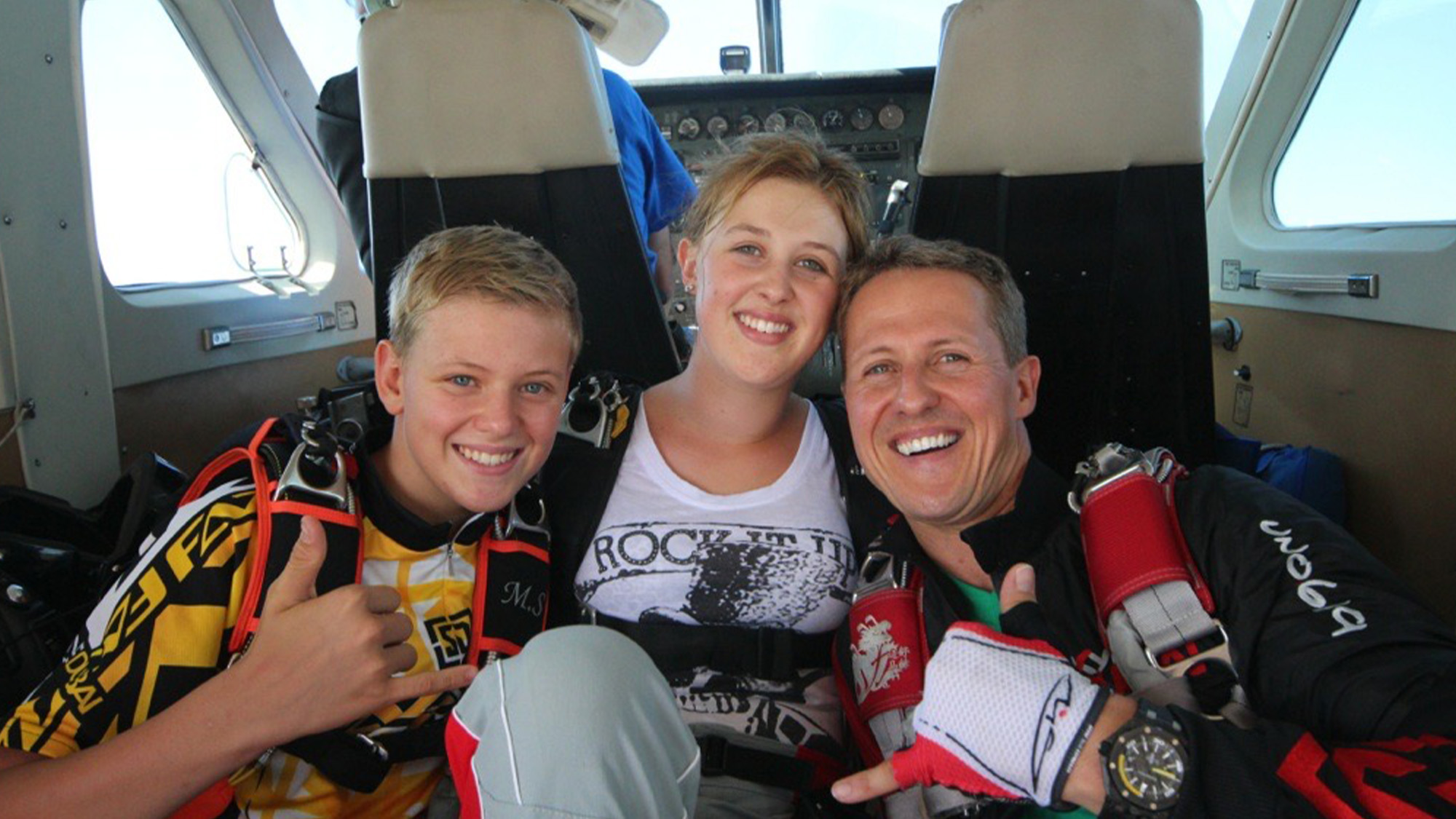Michael Schumacher with family in plane