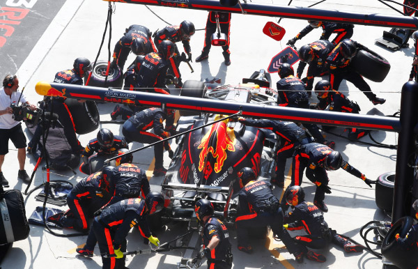 Max Verstappen in the pits