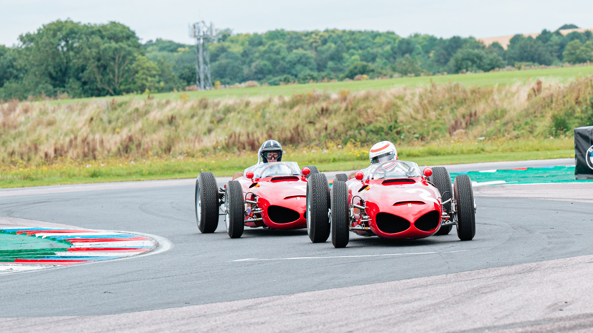 Martin Brundle and Damon Hill at Thruxton in Ferrari Sharknose