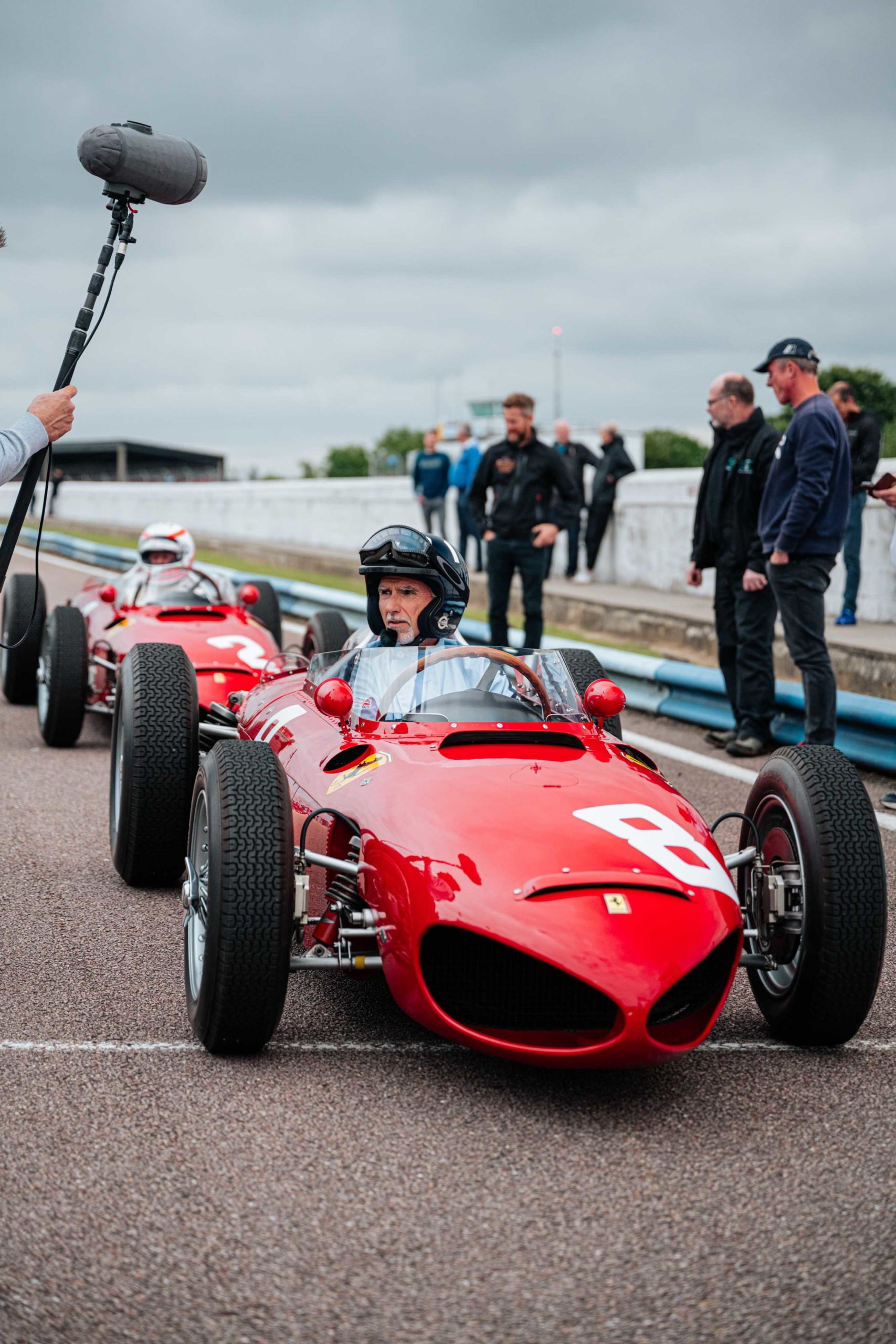 Damon Hill and Martin Brundle line up in Ferrari Sharknoses
