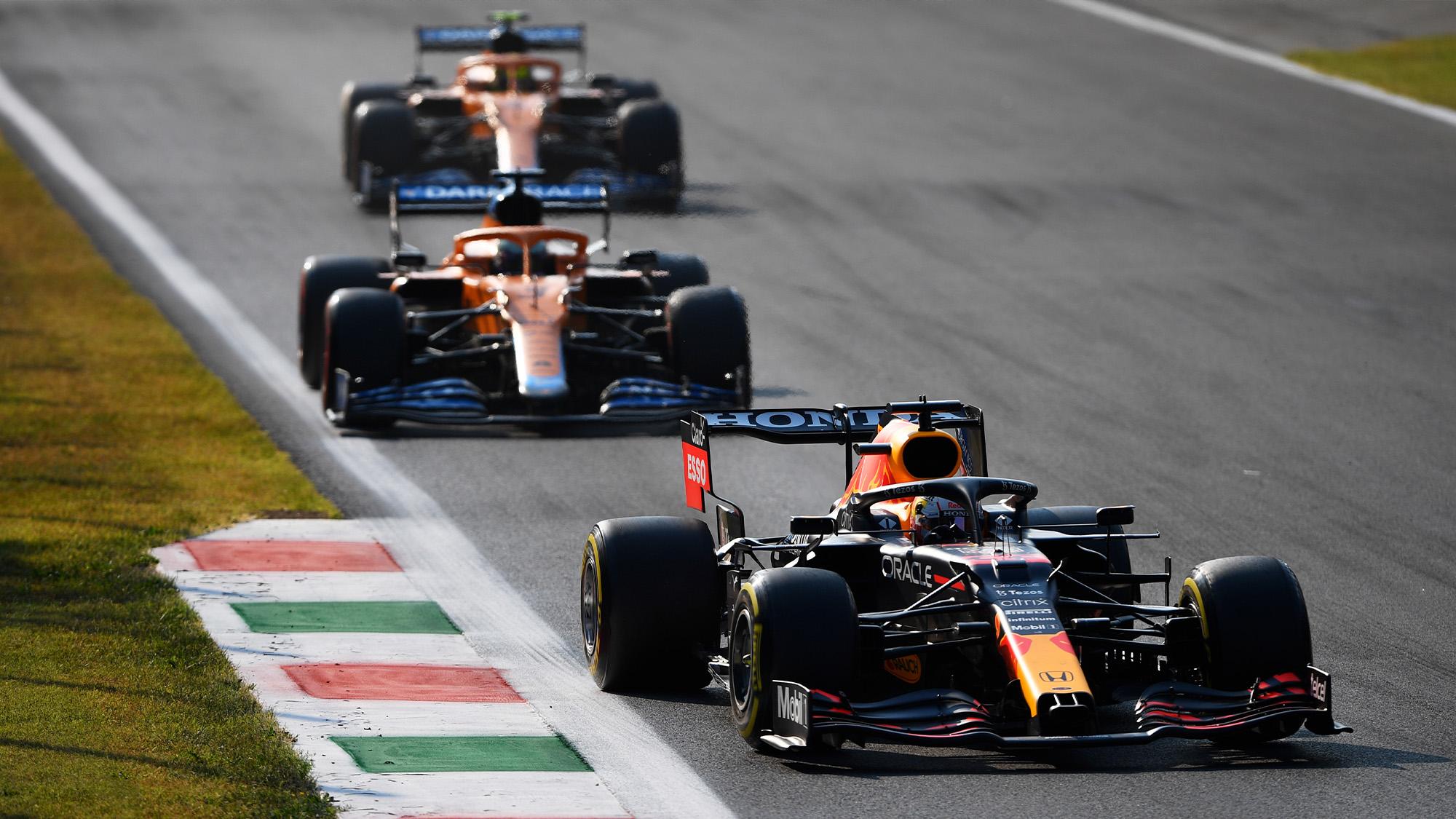 Max Verstappen ahead of Daniel ricciardo and Lando Norris at the 2021 Italian GP sprint qualifying