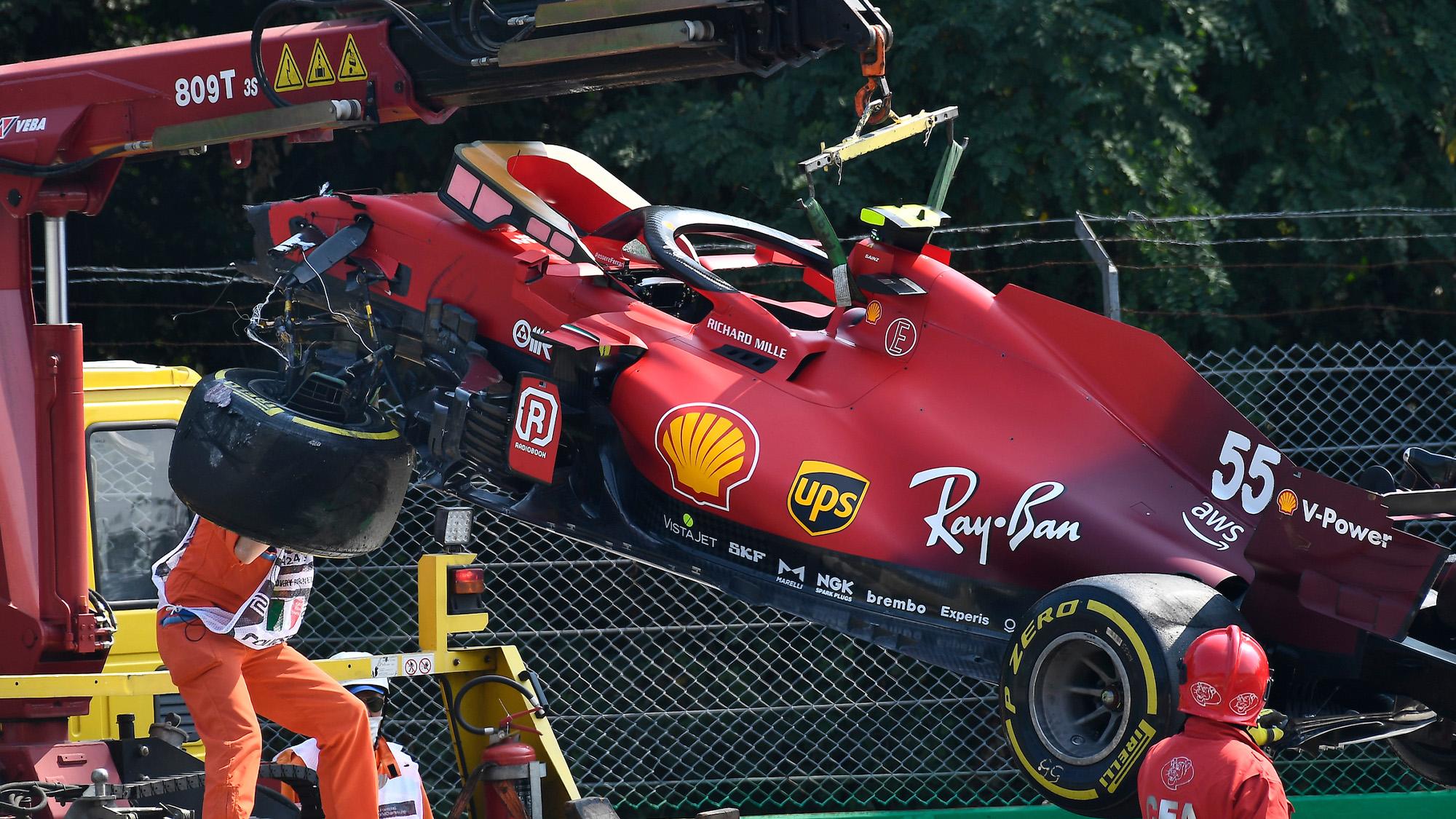 Wreckage of Carlos Sainz Ferrari at monza 2021