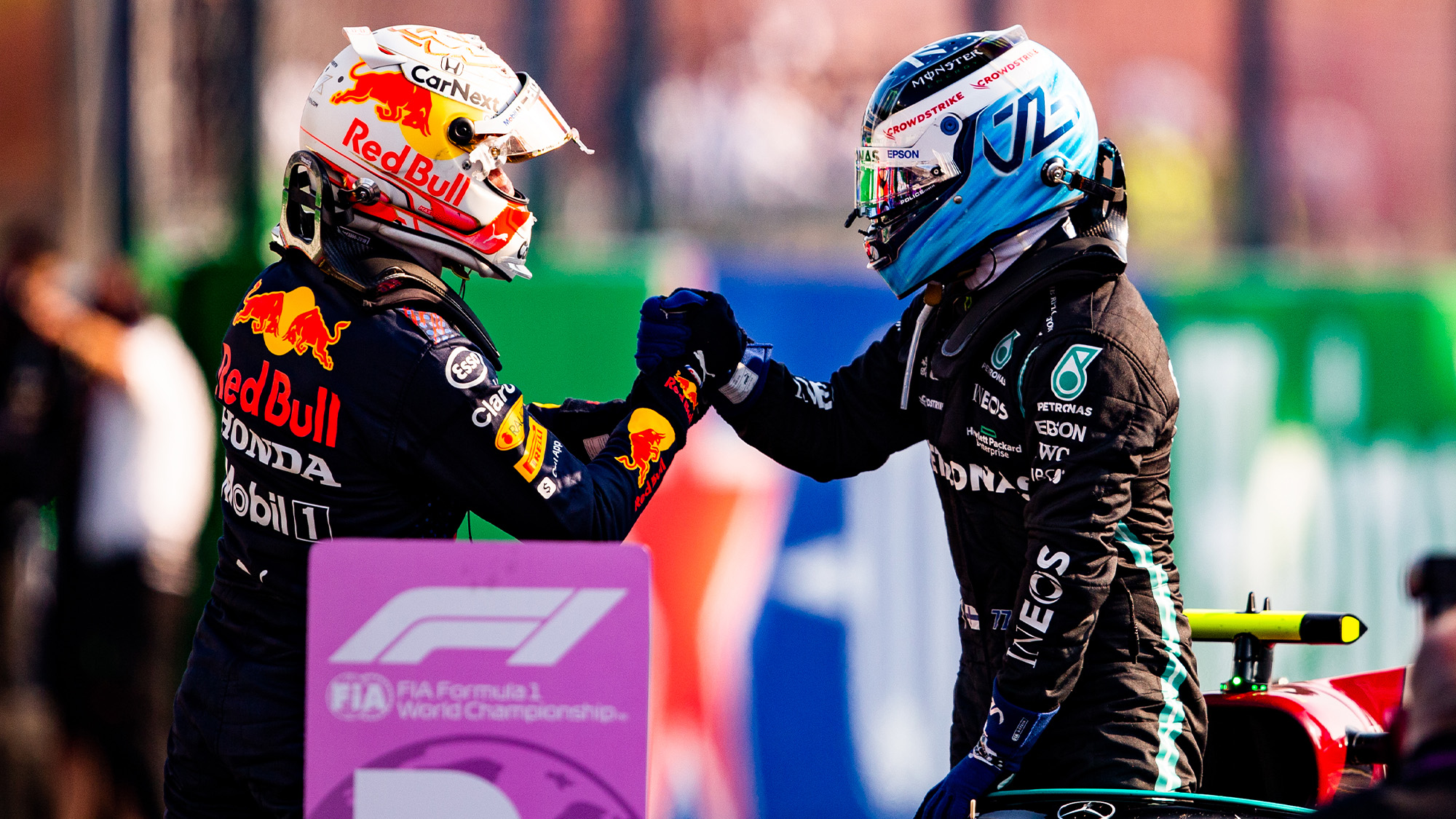 Verstappen shakes hands with Bottas after 2021 sprint qualifying at Monza