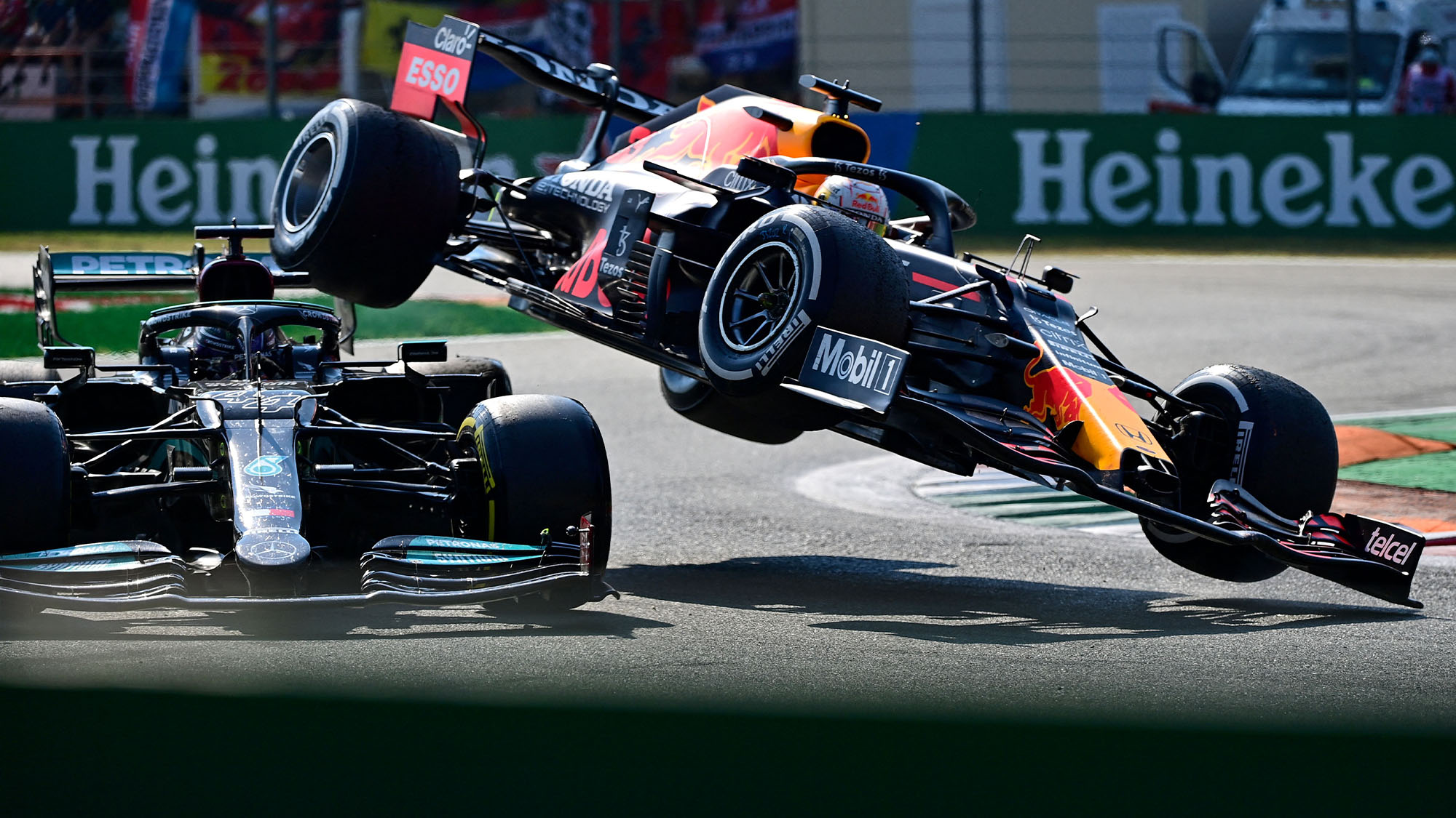 Max Verstappen launched into the air by Lewis Hamilton at Monza 2021