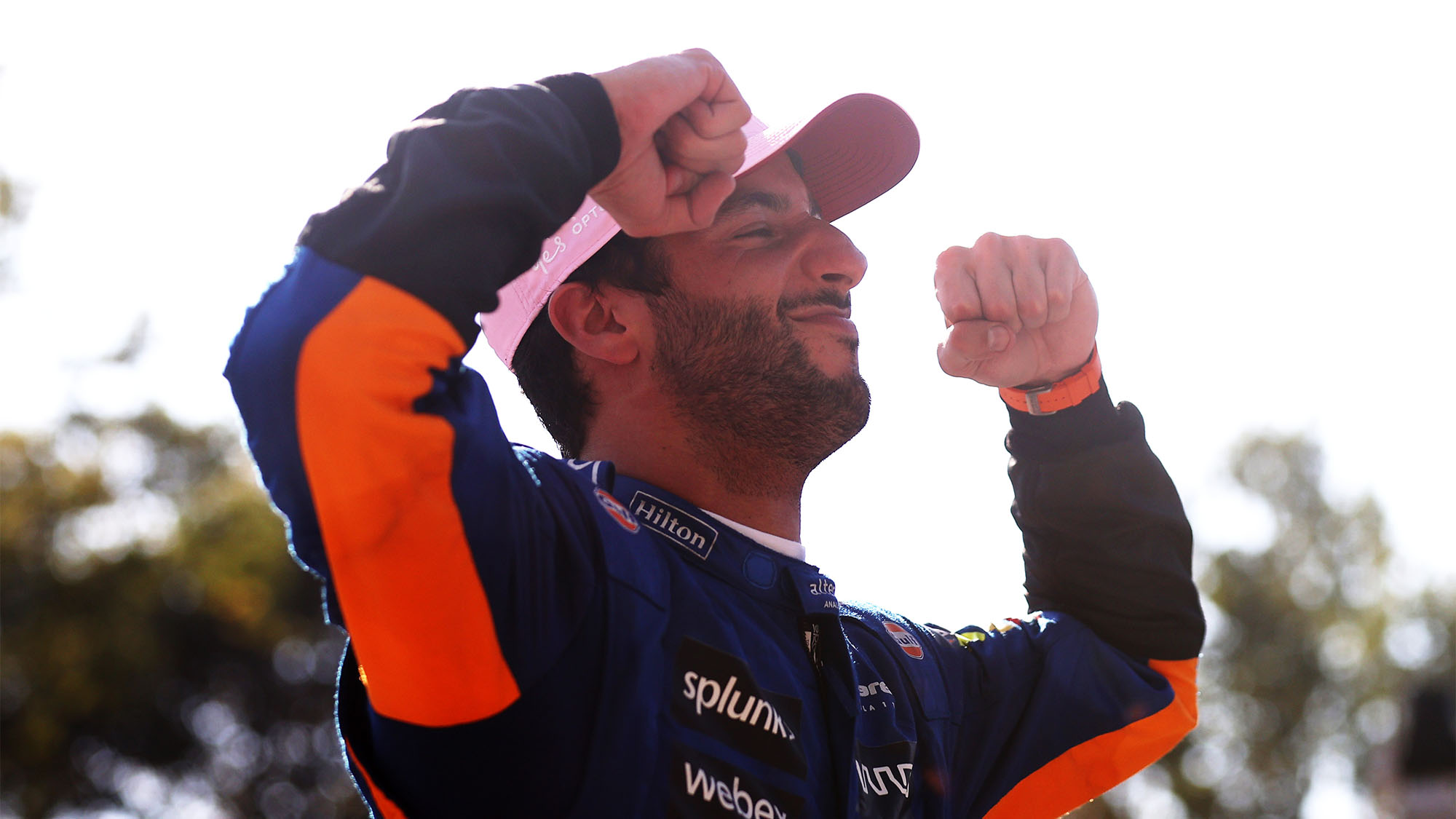MONZA, ITALY - SEPTEMBER 12: Race winner Daniel Ricciardo of Australia driving the (3) McLaren F1 Team MCL35M Mercedes celebrates in parc ferme during the F1 Grand Prix of Italy at Autodromo di Monza on September 12, 2021 in Monza, Italy. (Photo by Lars Baron/Getty Images)