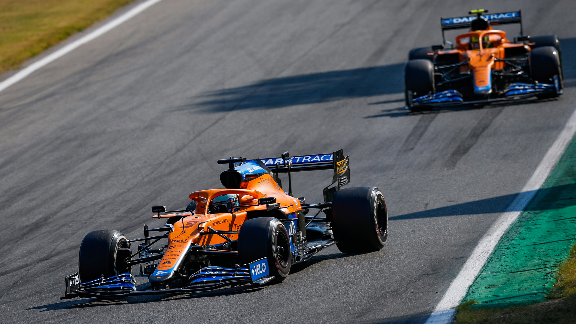 McLarens of Daniel ricciardo and Lando Norris on track at Monza