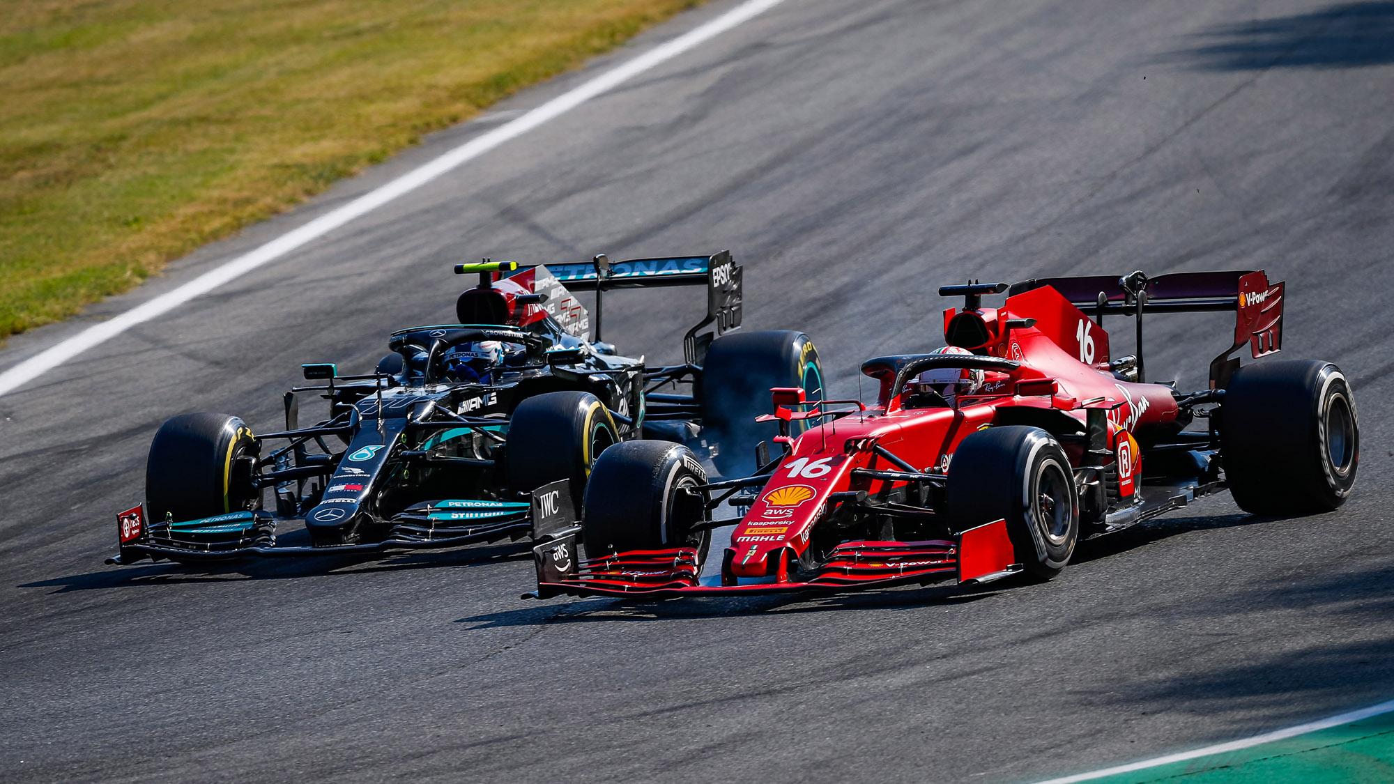 Valtteri Bottas and Charles Leclerc battle in the 2021 Italioan Grand Prix