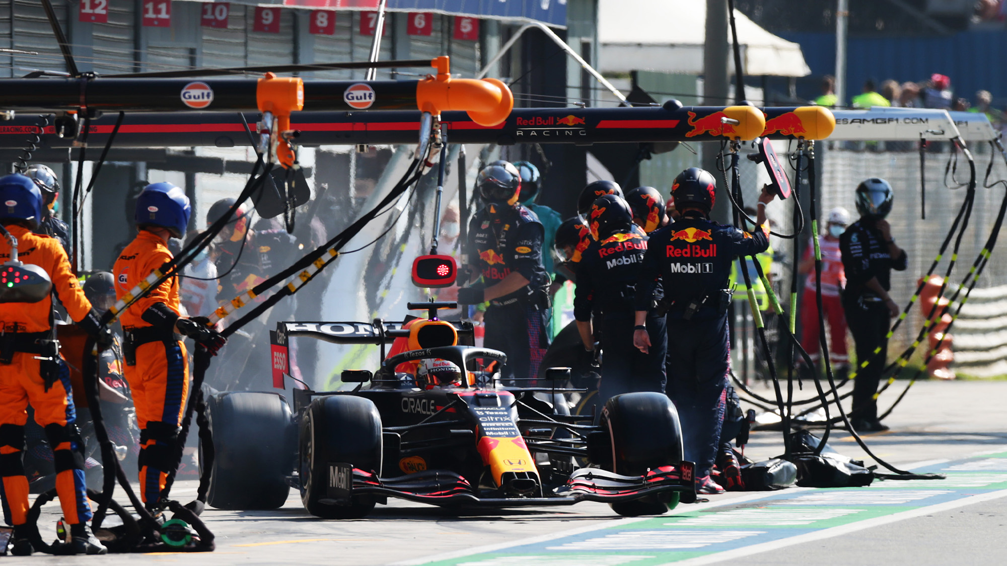 Max Verstappen leaves the Monza pits in the 2021 Italian Grand Prix