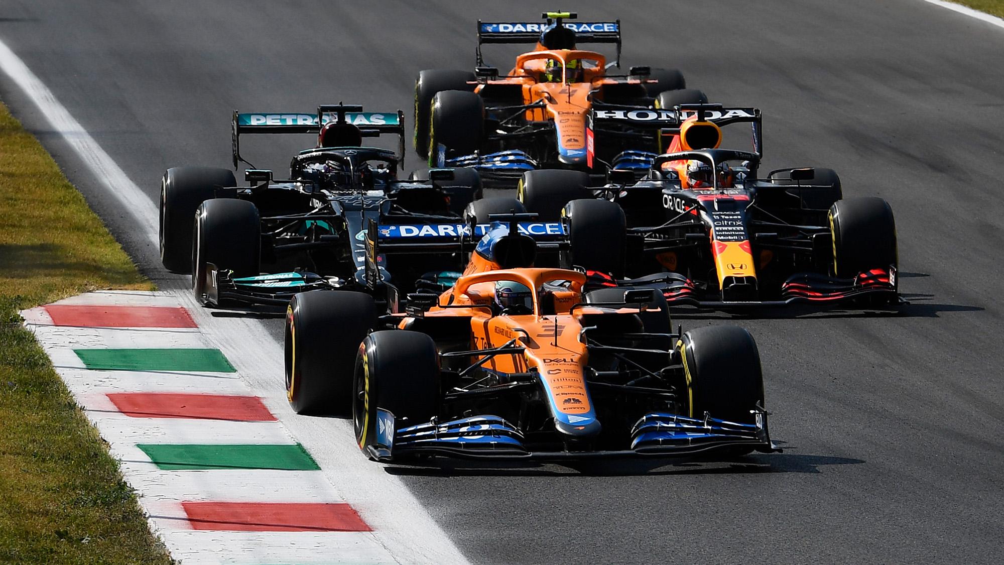 Ricciardo Hamilton Verstappen and Norris at the start of the 2021 Italian Grand Prix