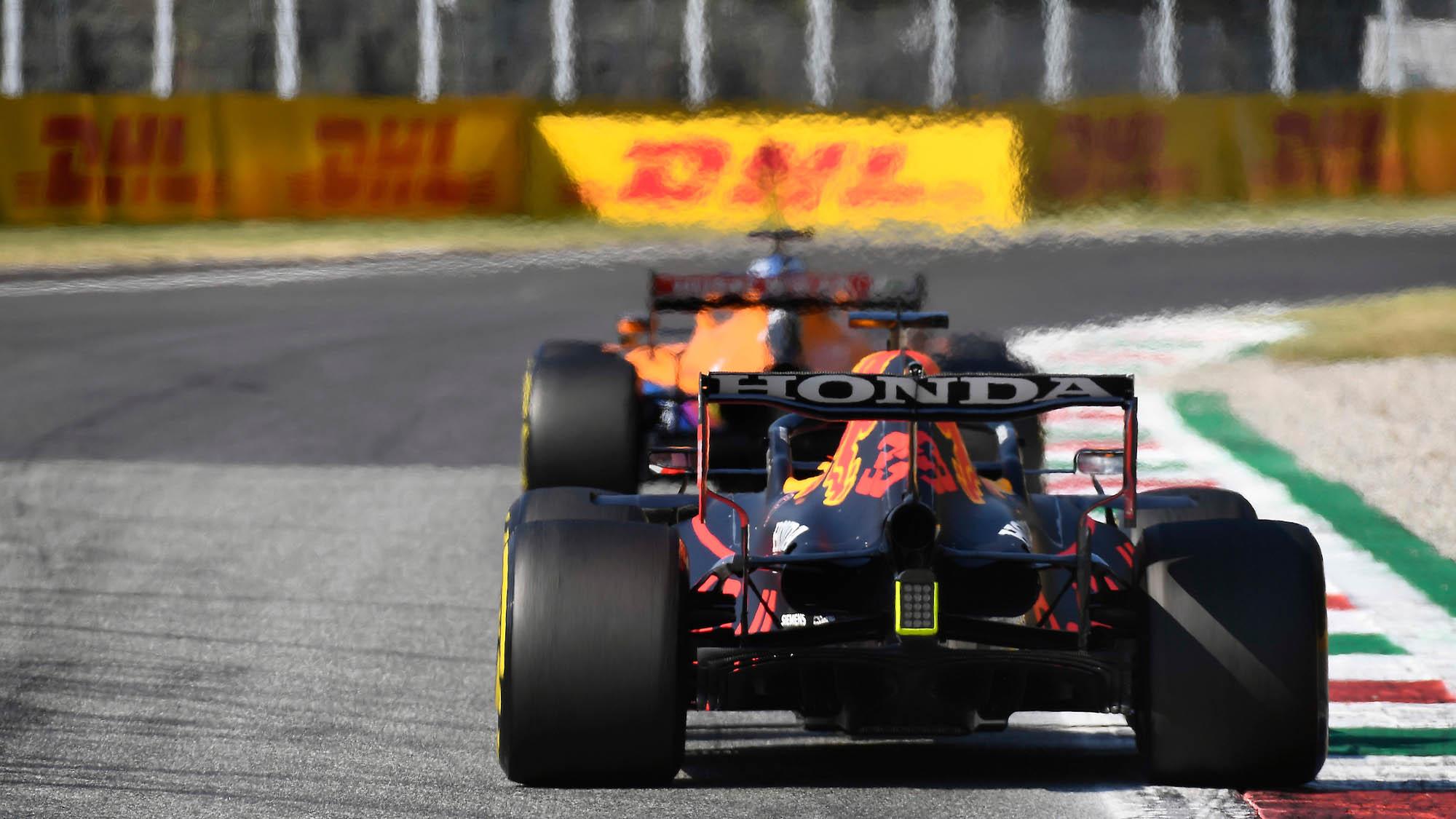 Max Verstappen follows McLaren of Daniel ricciardo at Monza