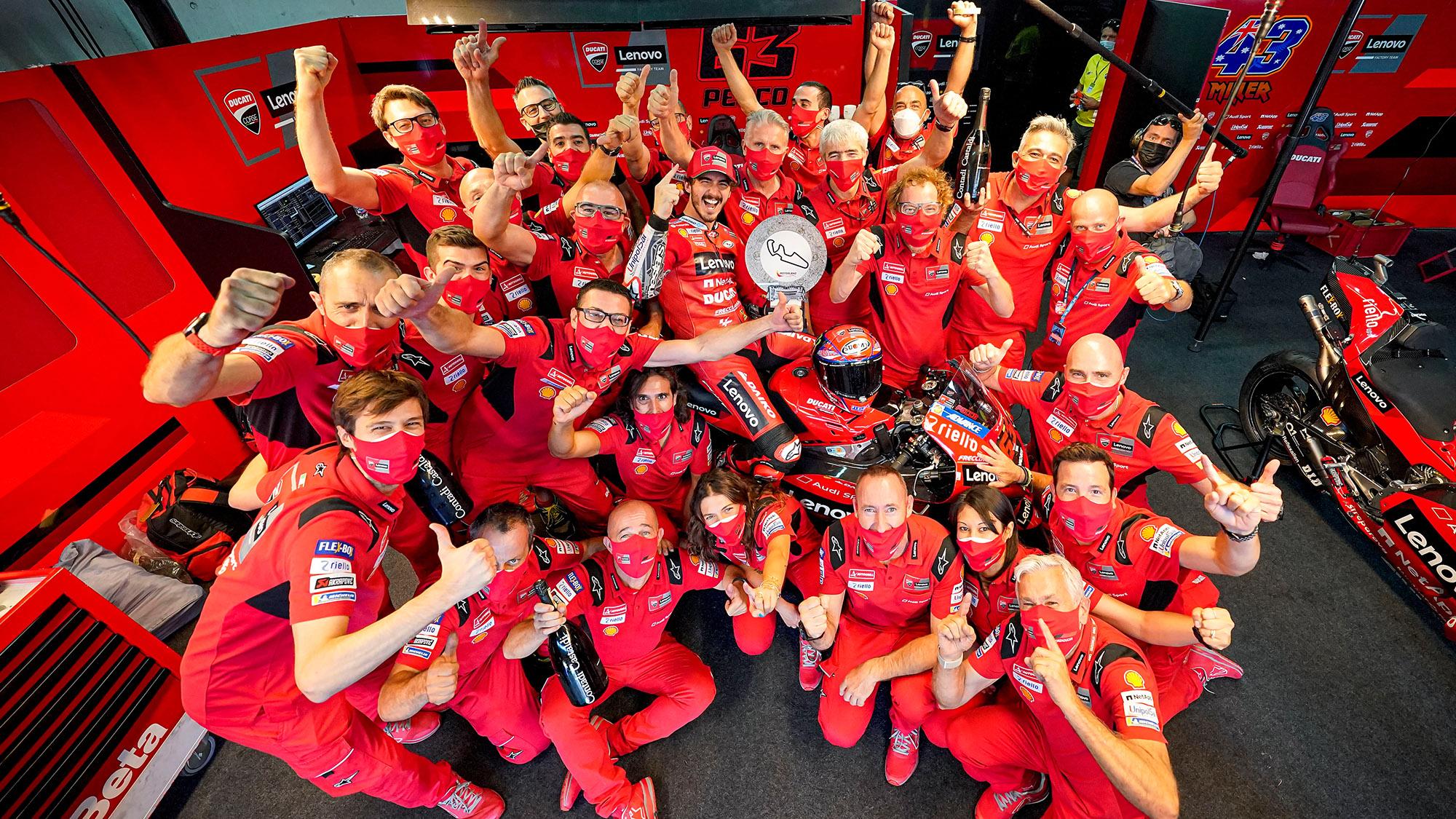 Ducati celebrates MotoGP 2021 Aragon win with Pecco Bagnaia