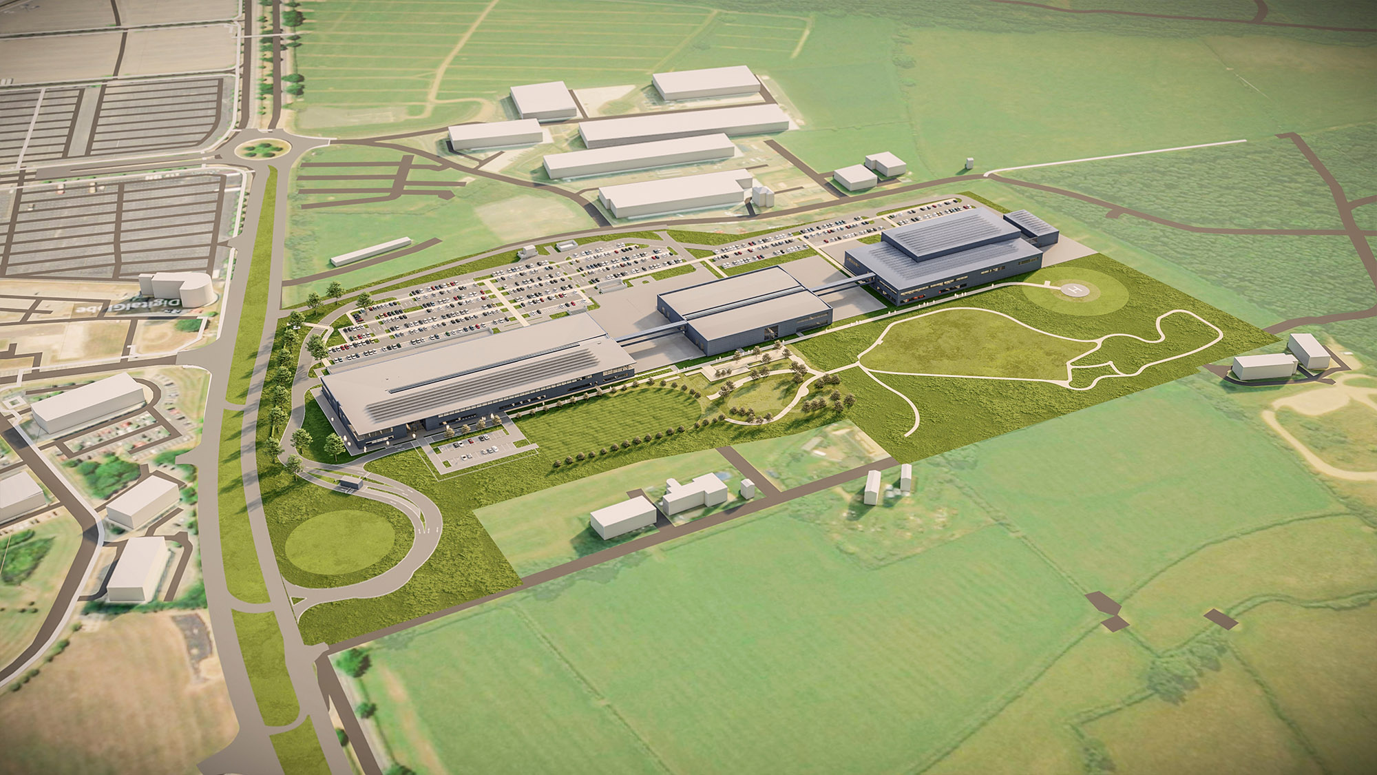 Three buildings of new Aston Martin factory rendered