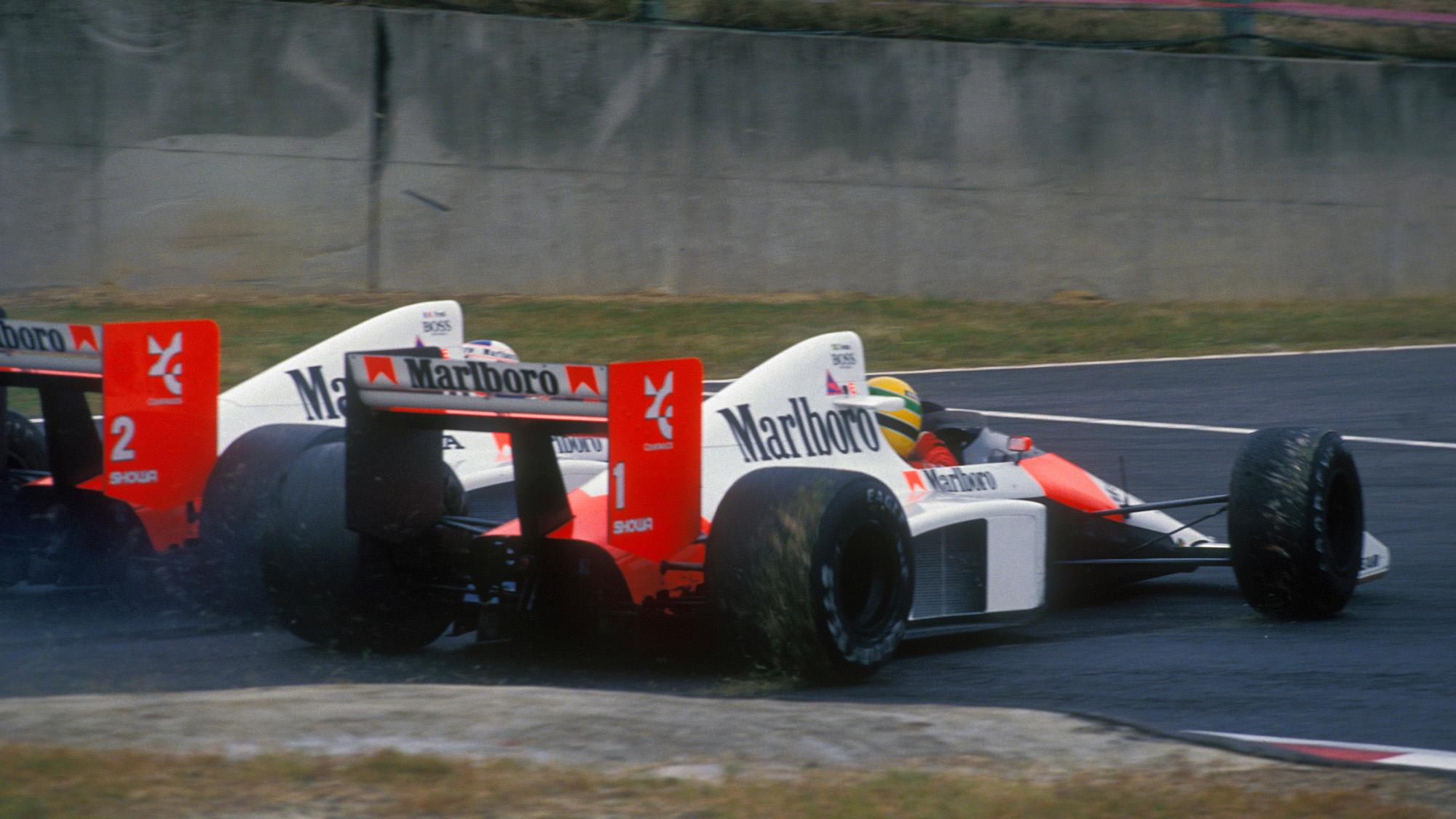 Ayrton Senna and Alain Prost crash at the 1989 Japanese Grand Prix