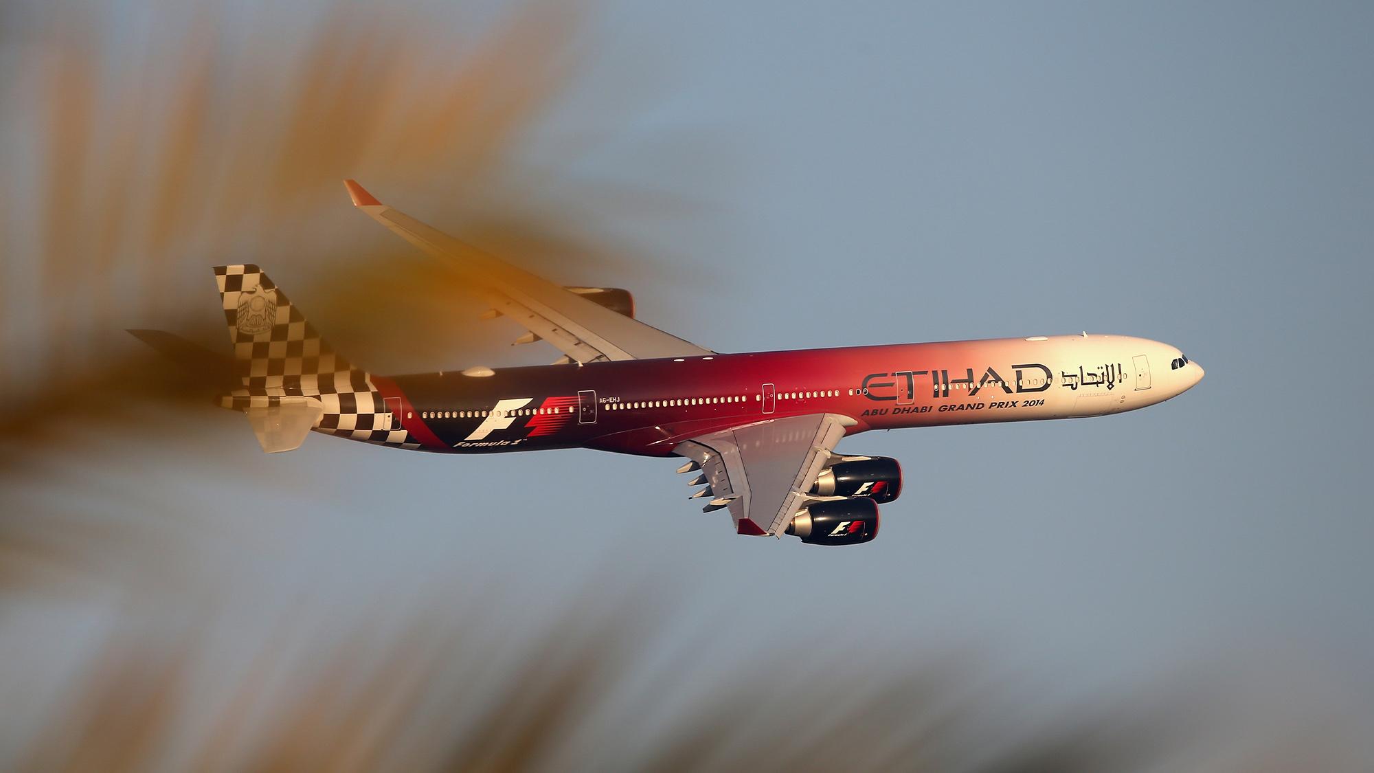 Etihad F1 branded plane in the sky