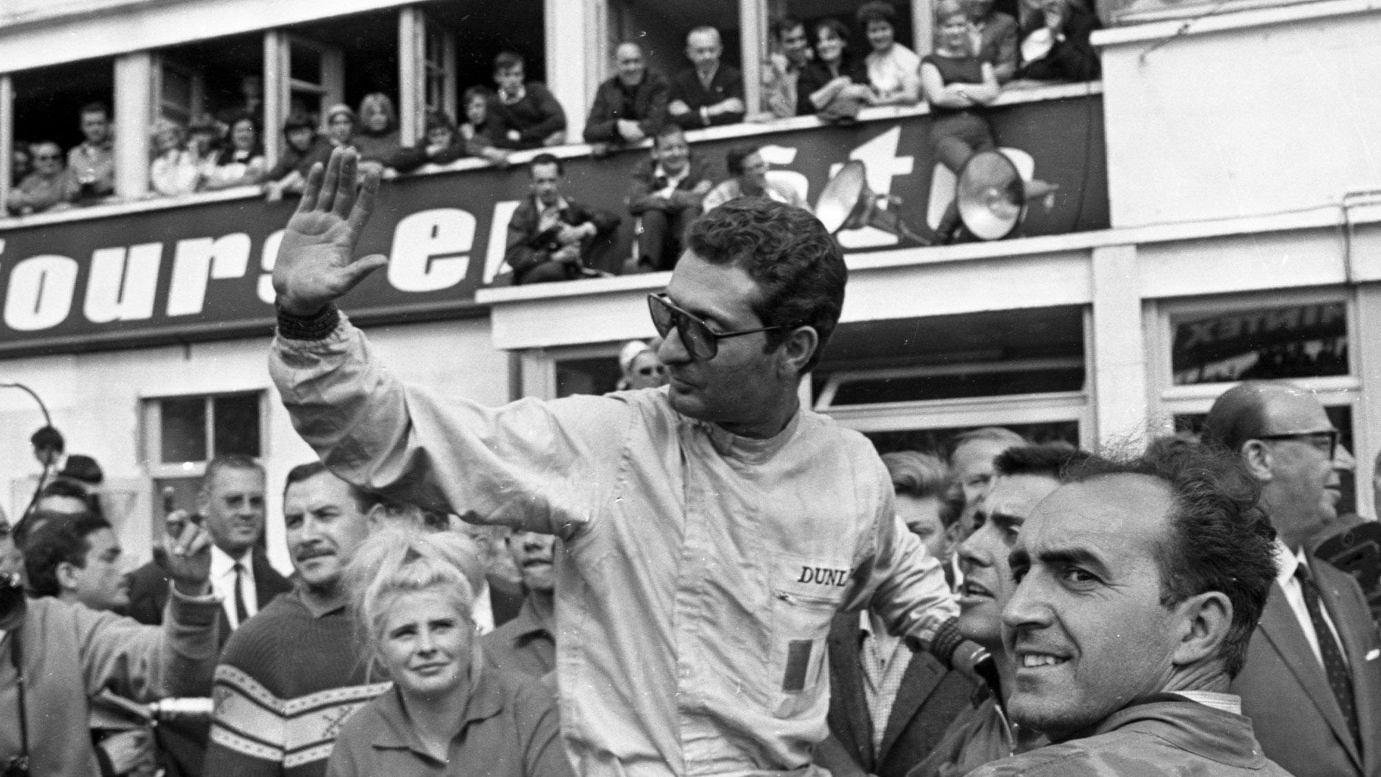 Nino Vaccarella celebrates Le Mans victory in 1964