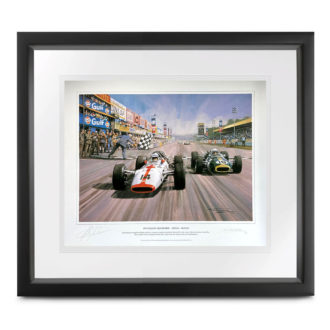 Product image for John Surtees signed Honda at Monza print by Michael Turner