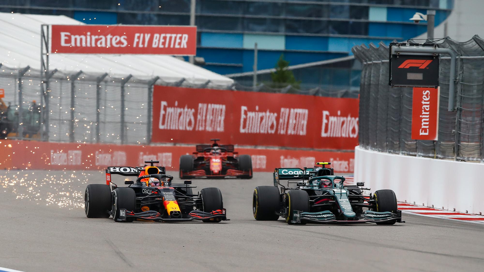 Max Verstappen fights with Sebastian Vettel in the 2021 Russian Grand Prix