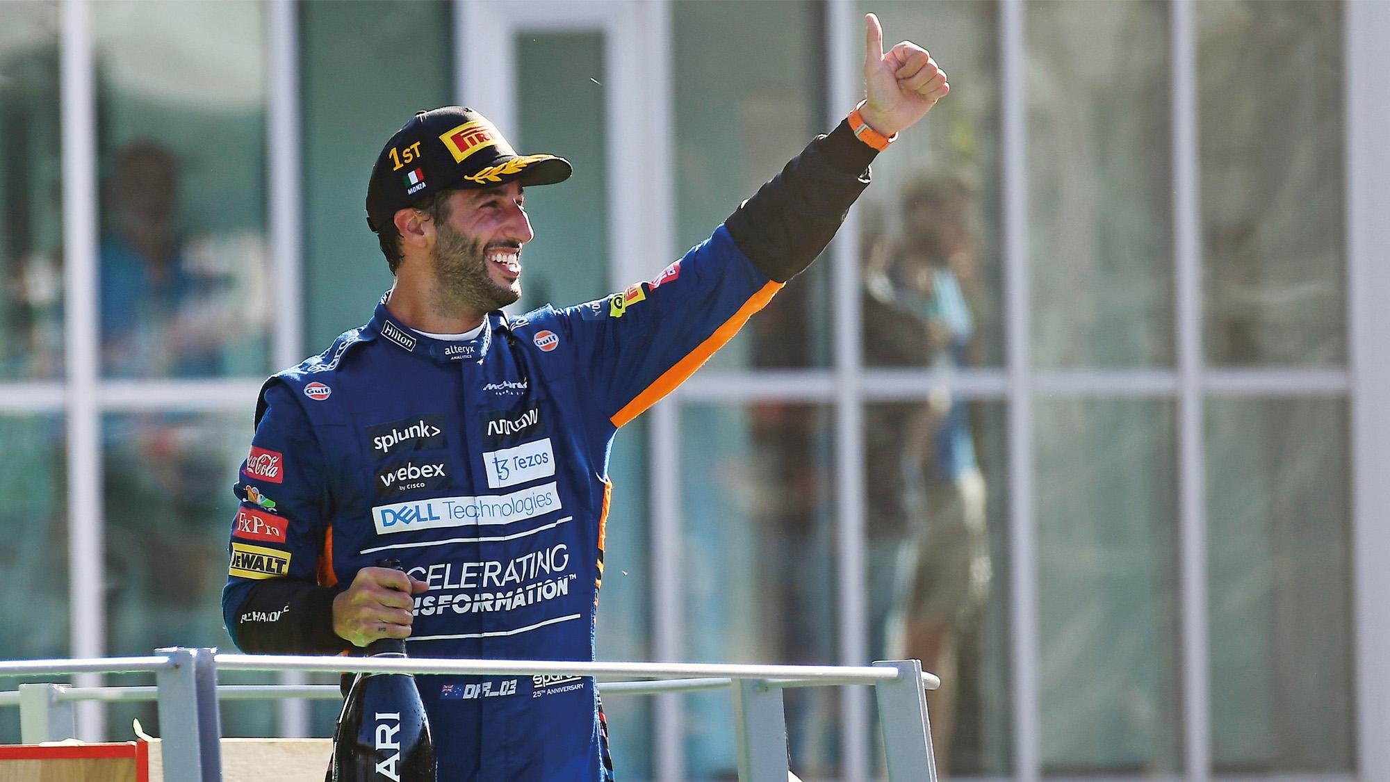 Daniel Ricciardo celebrates 2021 Italian Grand Prix win