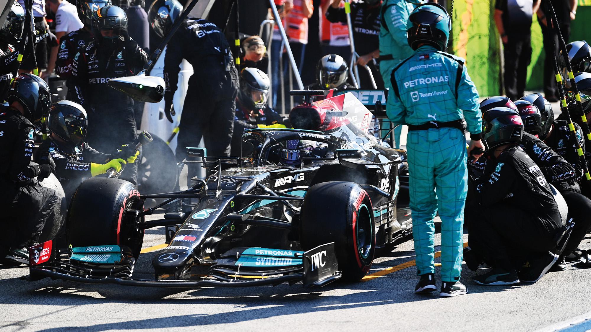 Lewis Hamilton leaves the pits at Zandvoort 2021