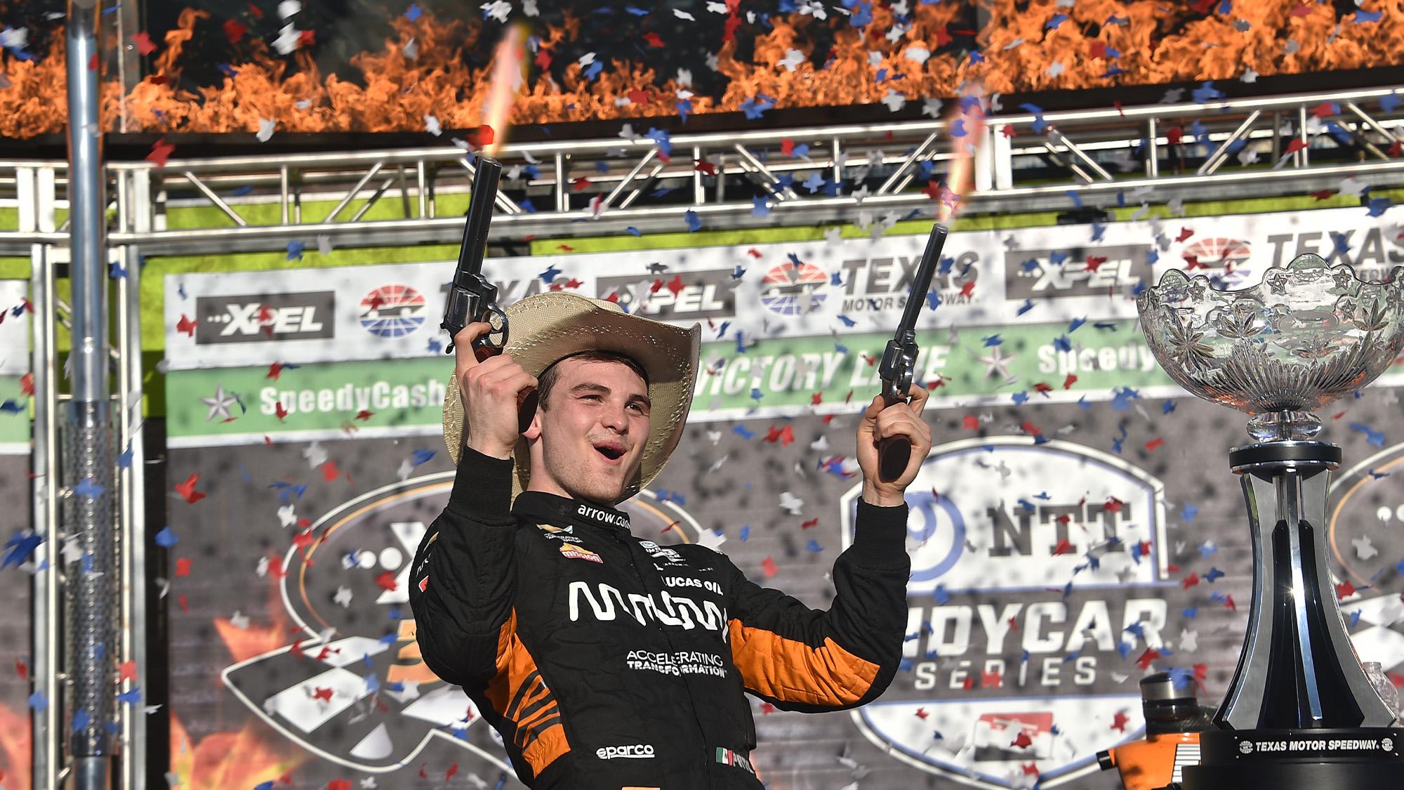 Pato O Ward celebrates IndyCar victory with pistols