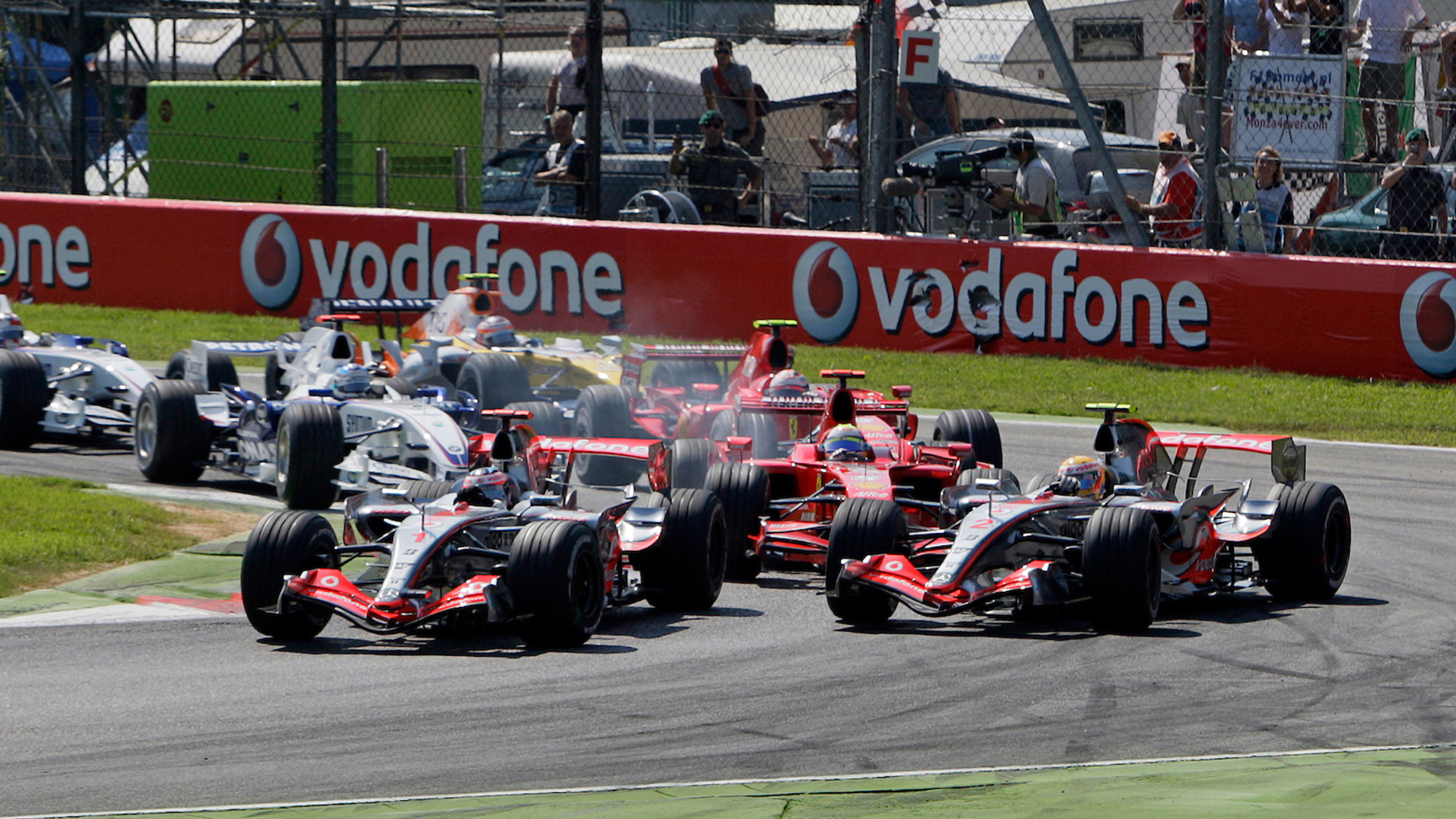Lewis Hamilton and Fernando Alonso fight at Monza in 2007