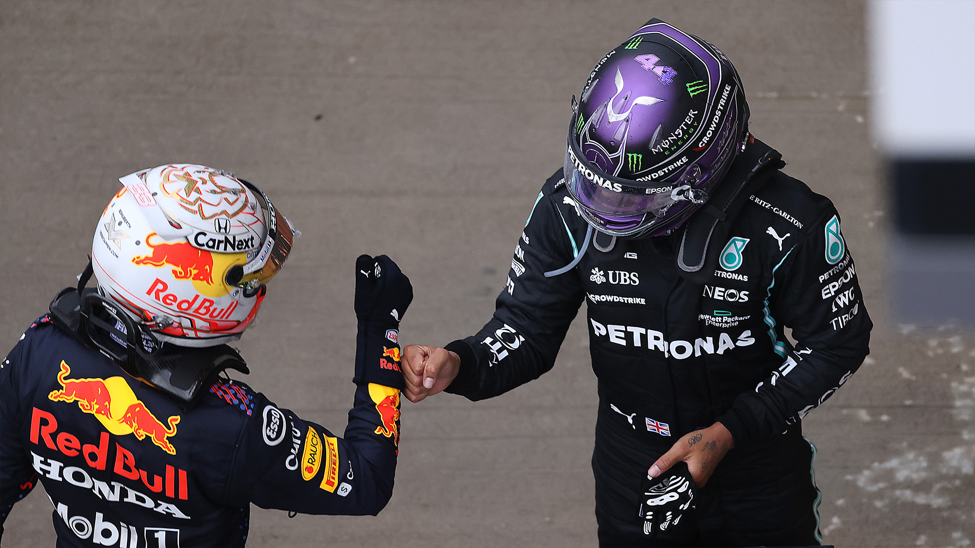 Lewis Hamilton and Max Verstappen bump fists