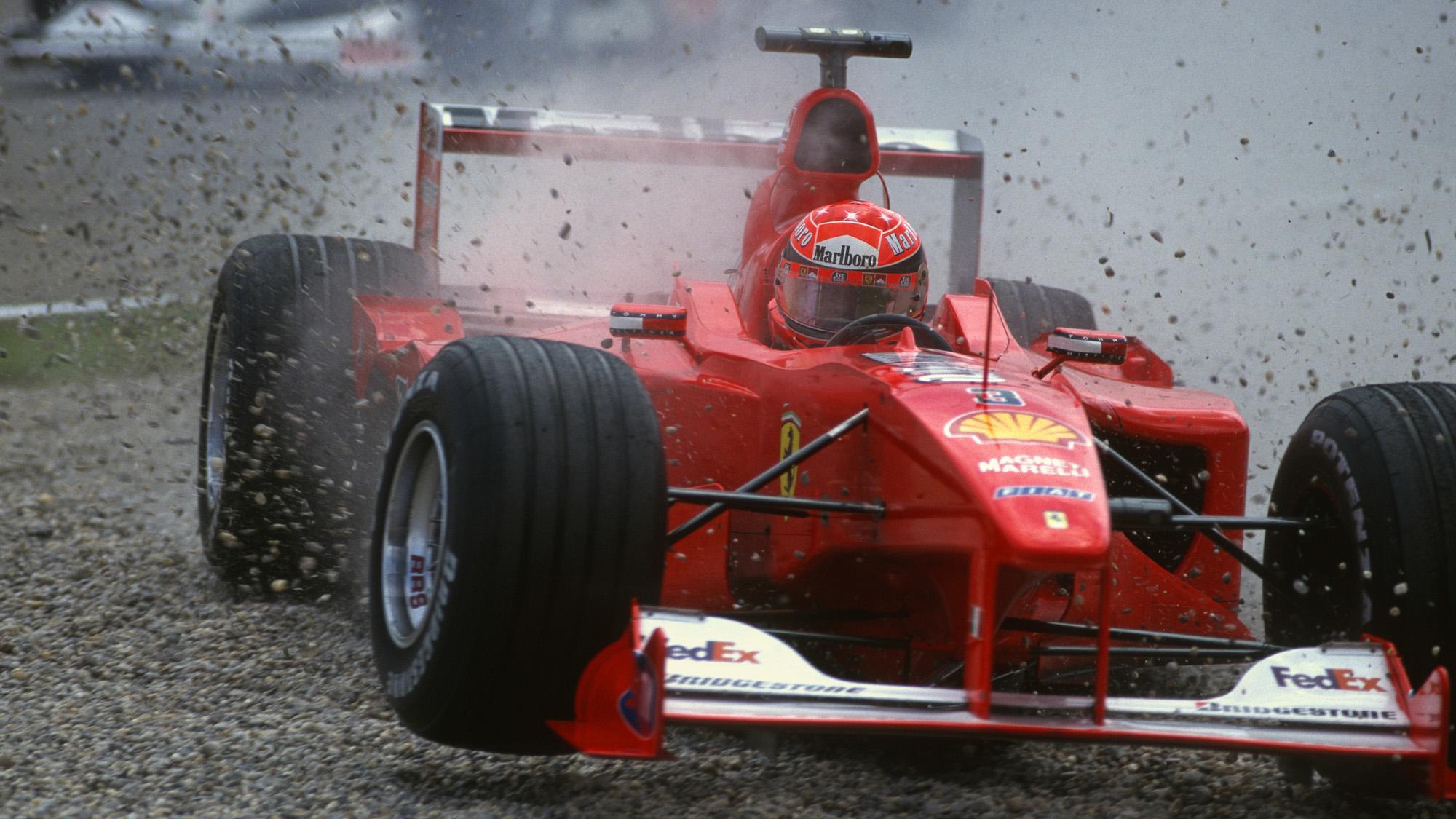 Michael Schumacher crashes at the 2000 German Grand Prix