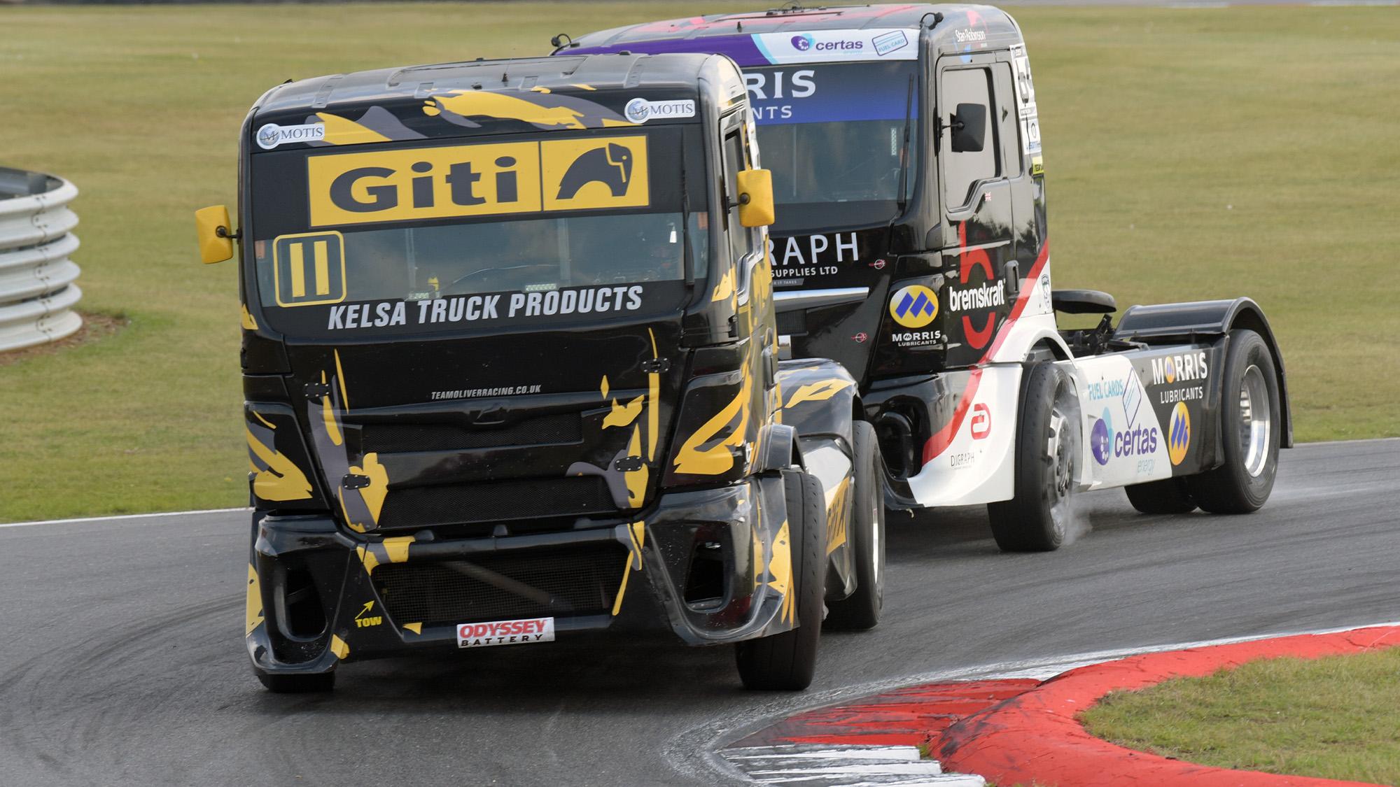 Martin Gibson leads David Jenkins in Snetterton truck race