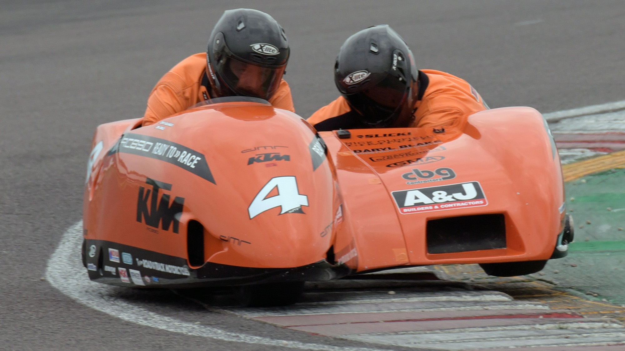 Dave Molyneux and Dan Sayle in KTM sidecar