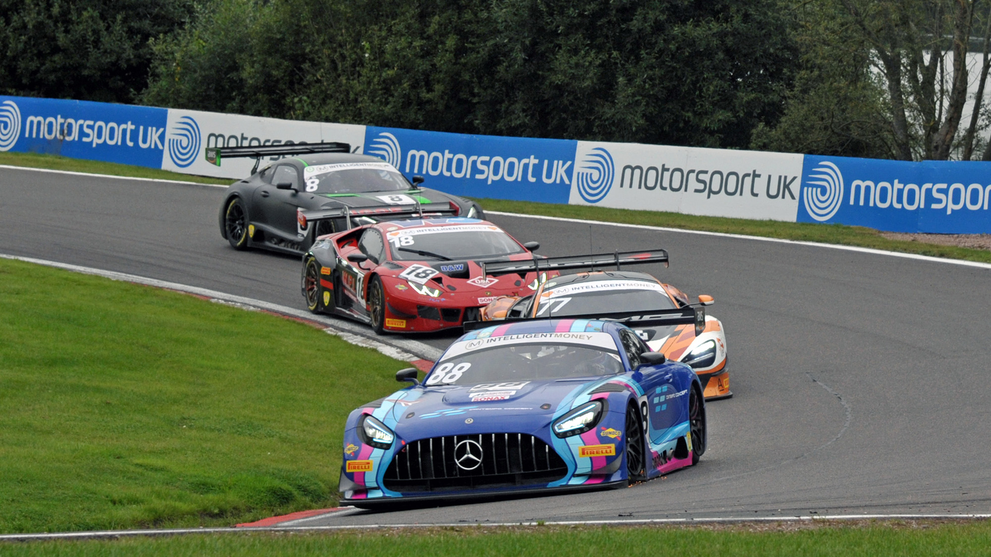 Kevin Tse leads in his RAM Mercedes at Oulton Park