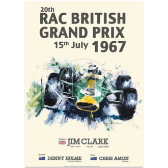 Product image for Jim Clark & Lotus | British Grand Prix 1967 Victory Poster | By John Ketchell