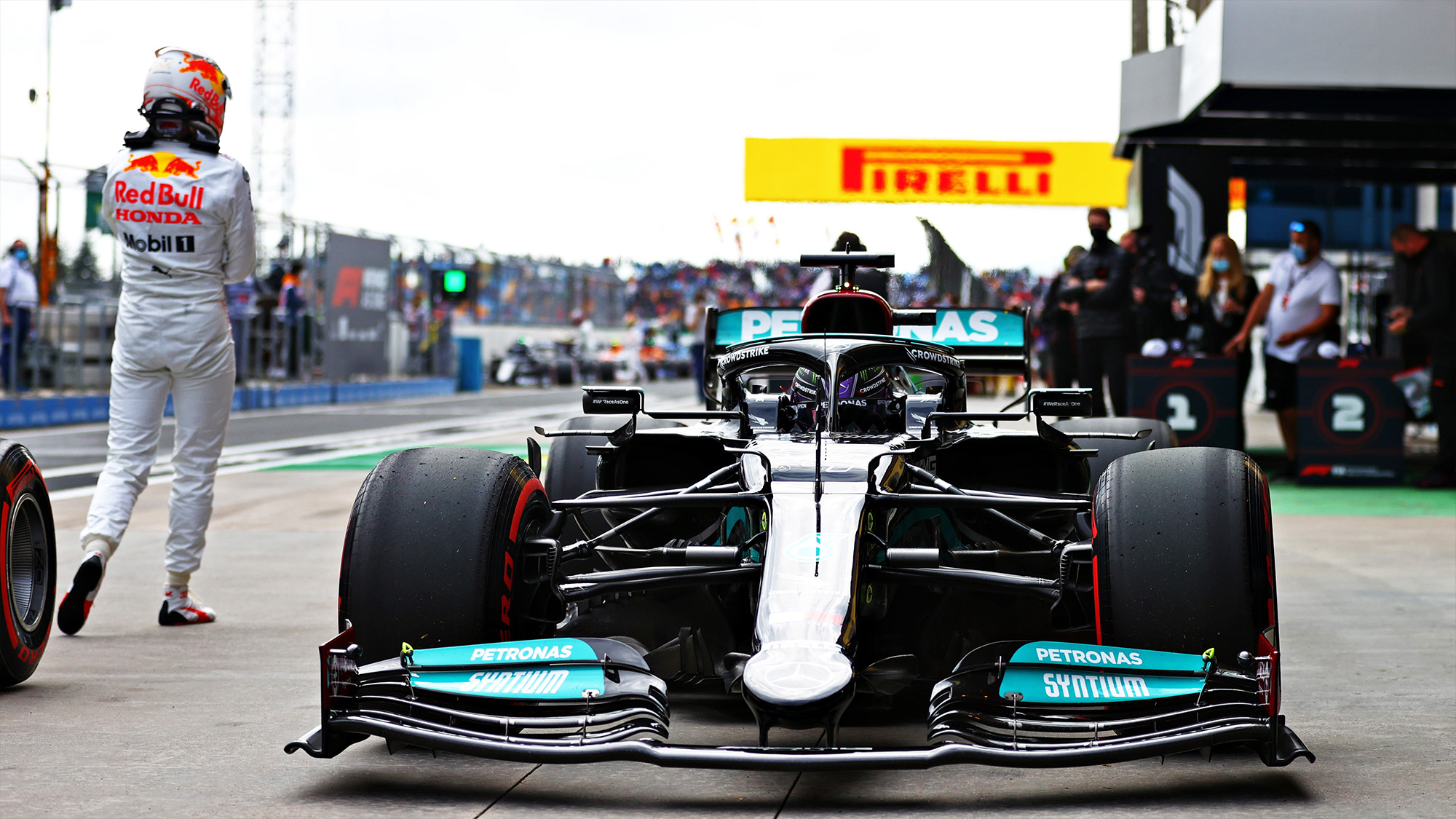 Max Verstappen walks away from Lewis Hamilton Mercedes