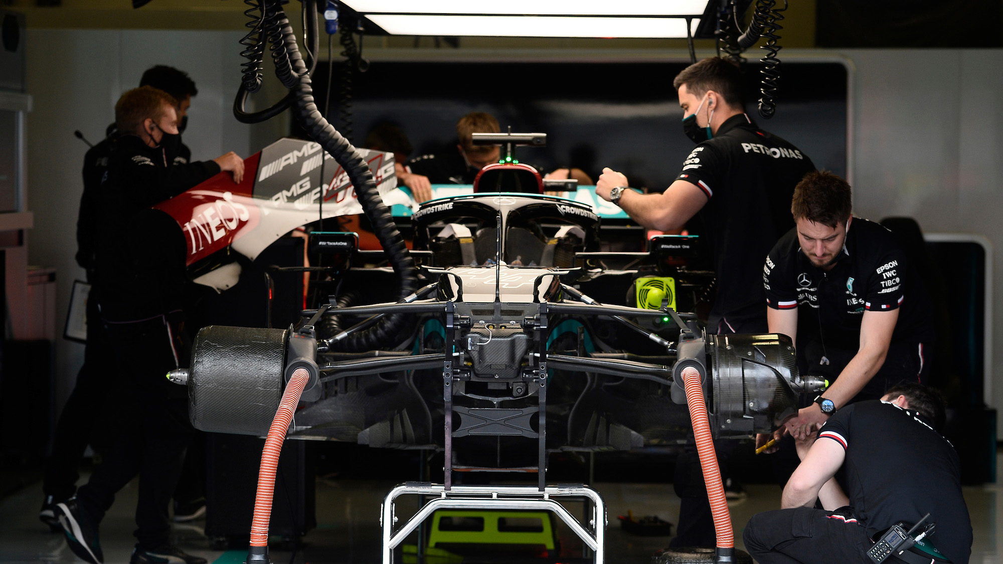 Lewis Hamilton Mercedes in pit garage