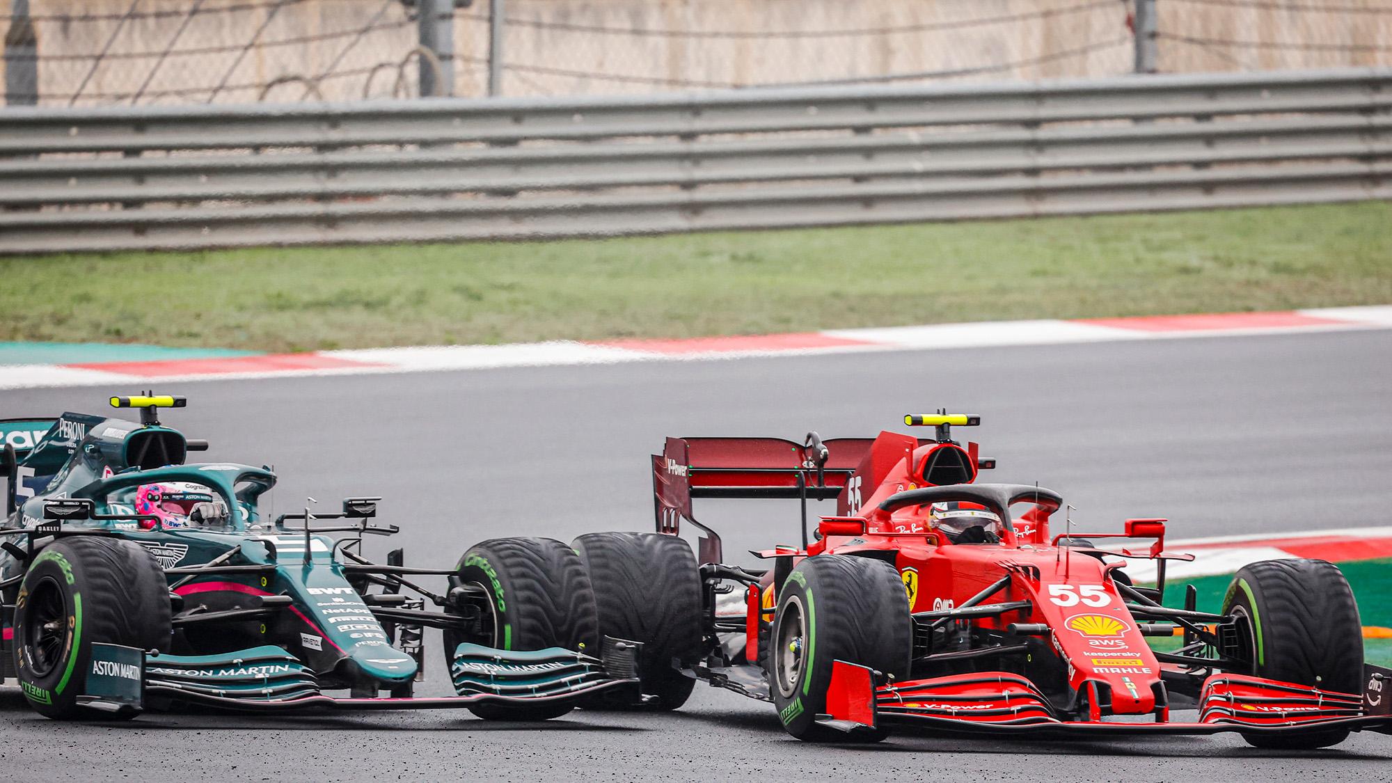 Sebastian Vettel and Carlos Sainz collide at the 2021 Turkish Grand Prix