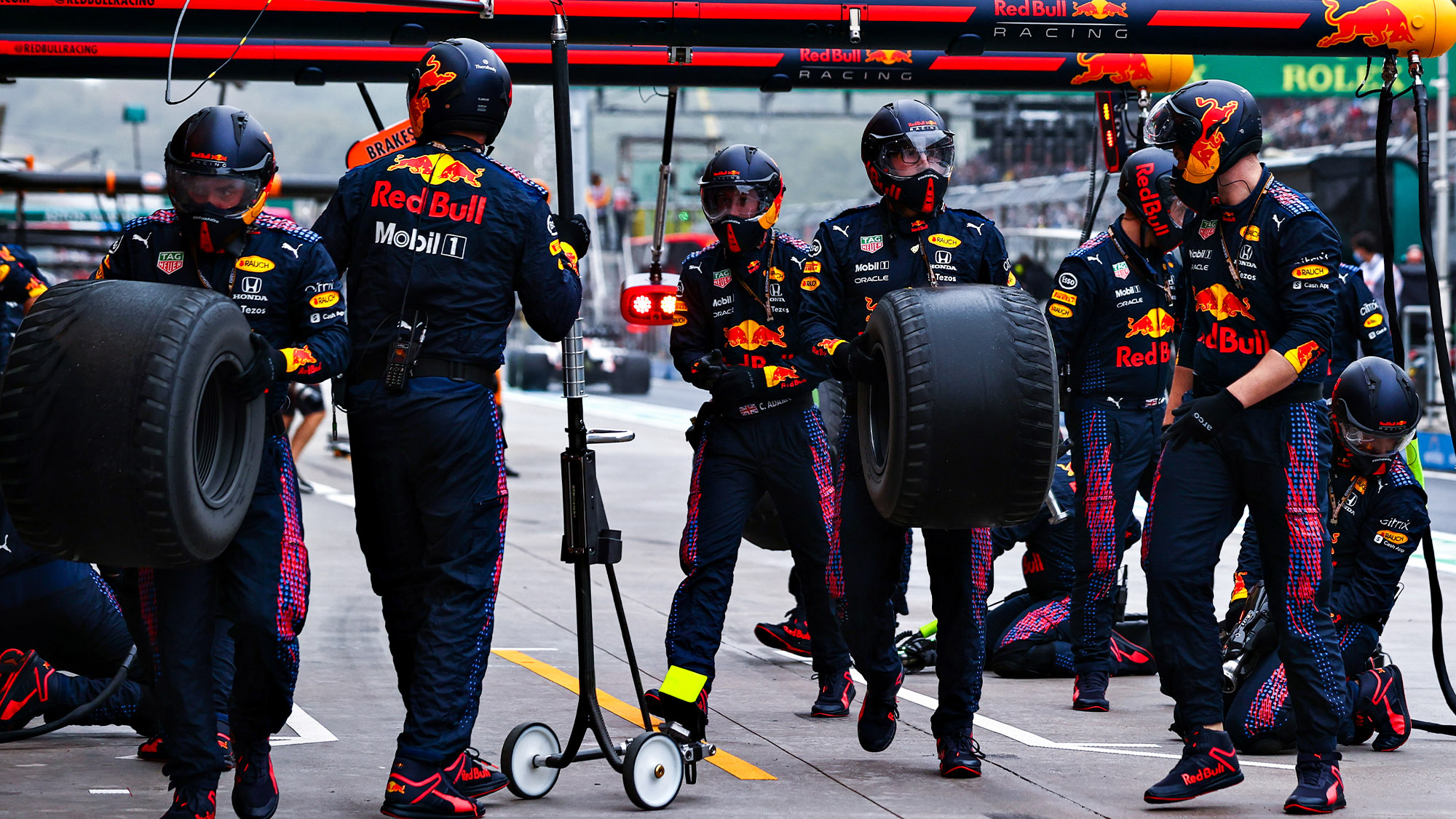 Bald intermediate tyres after Red Bull pitstop